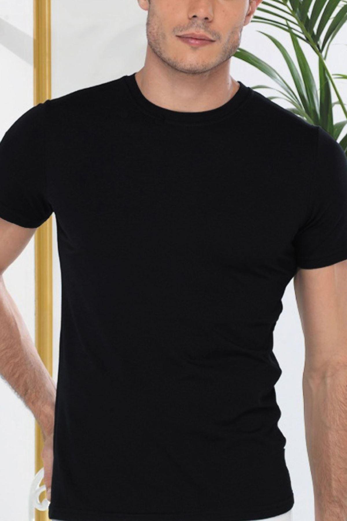 Siyah Erkek Yuvarlak Yaka Kısa Kol Cotton Body 093