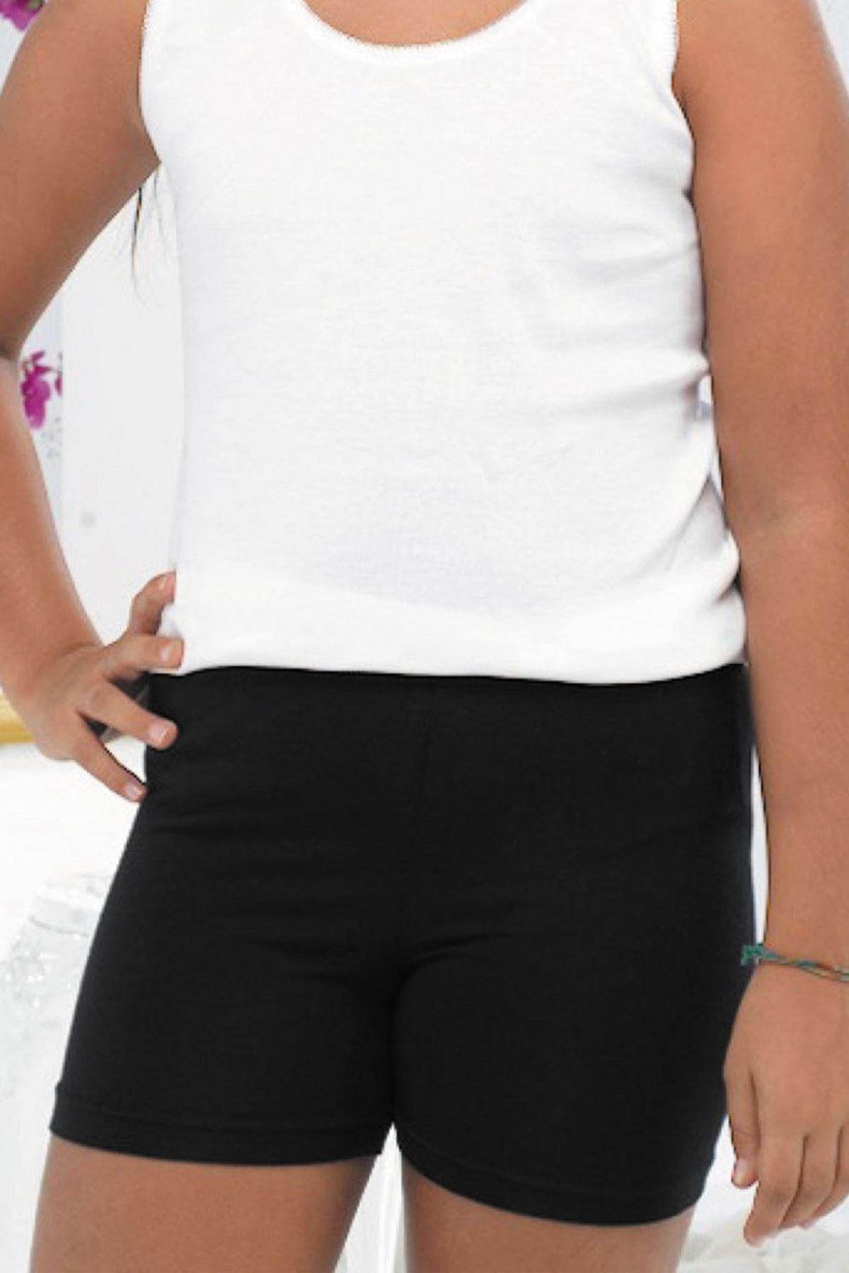 Siyah Kız Çocuk Modal Kısa Şort Tayt 309