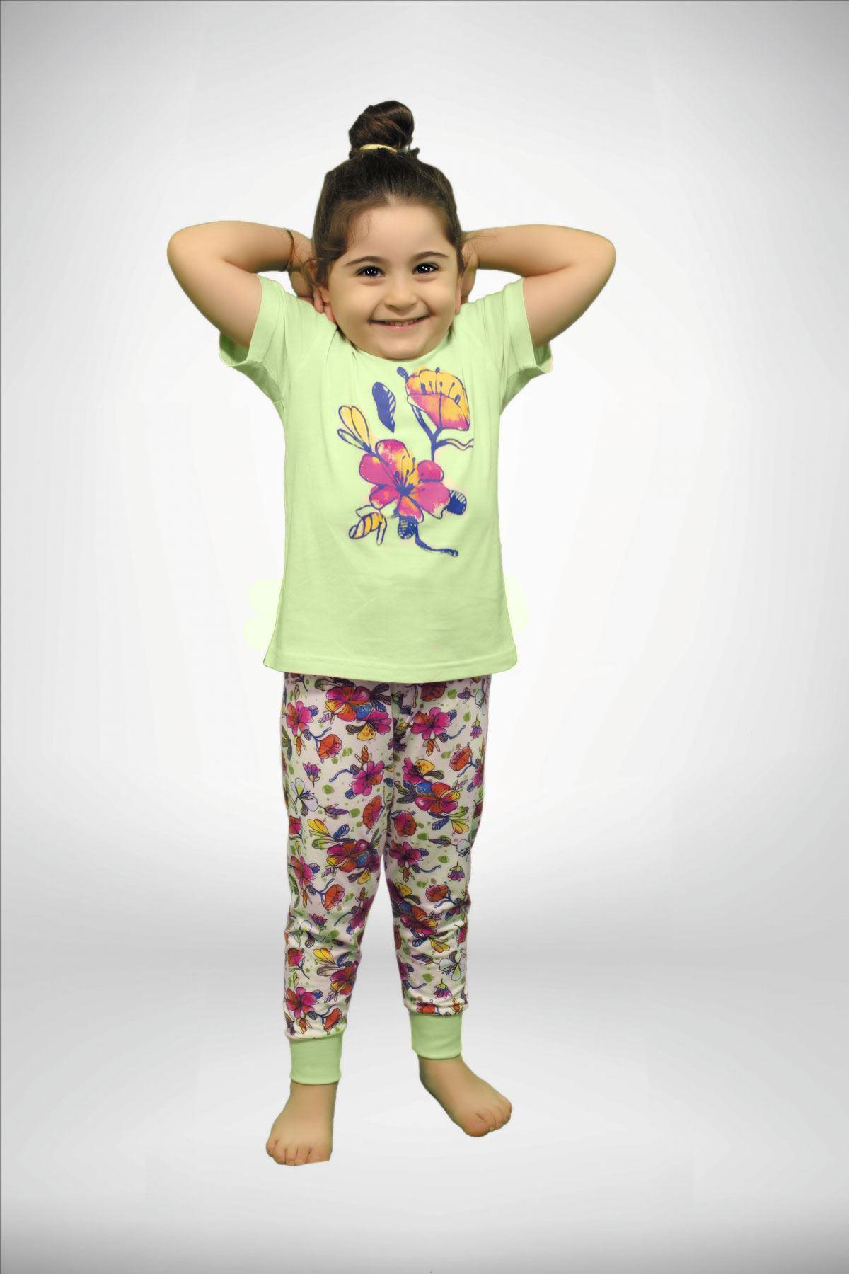 Yeşil Kız Çocuk Baskılı 3 lü Yazlık Pijama Takımı 4001