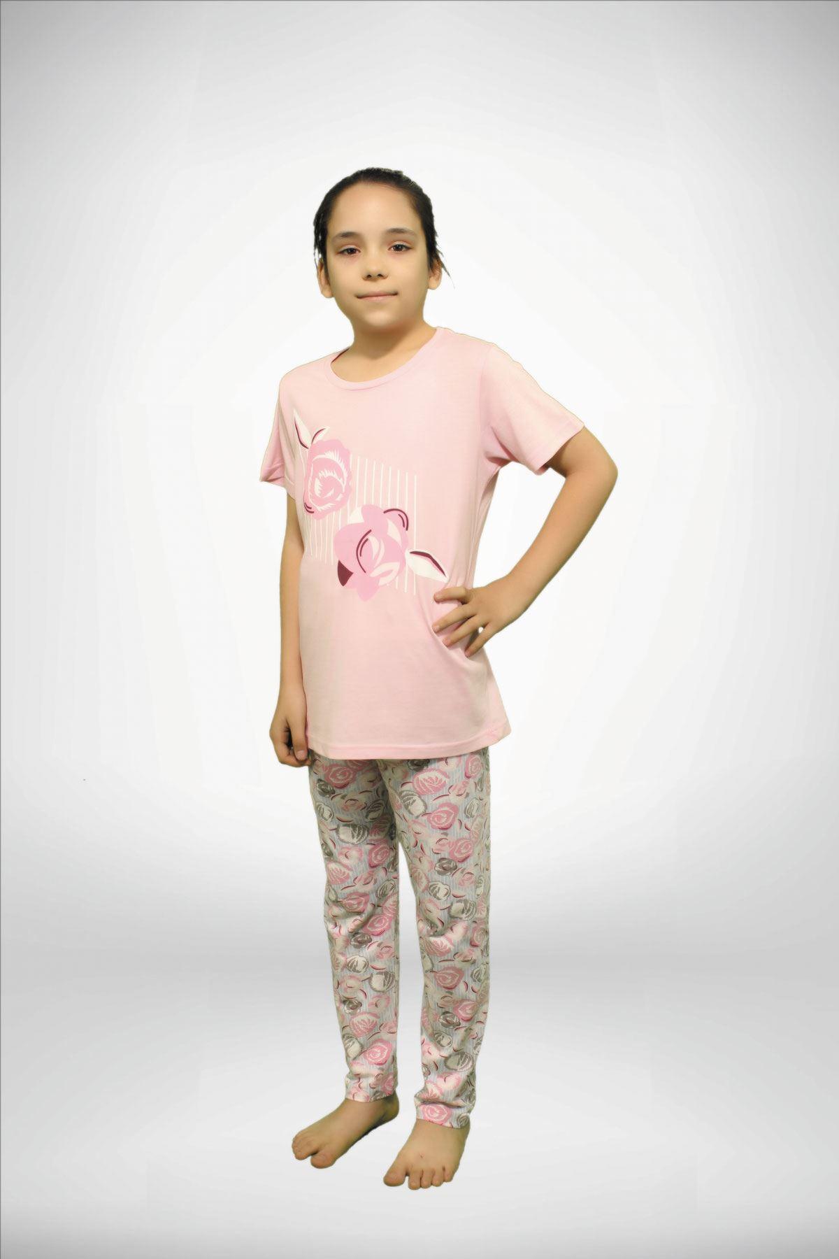 Pembe Kız Çocuk Baskılı 3 lü Yazlık Pijama Takımı 4001