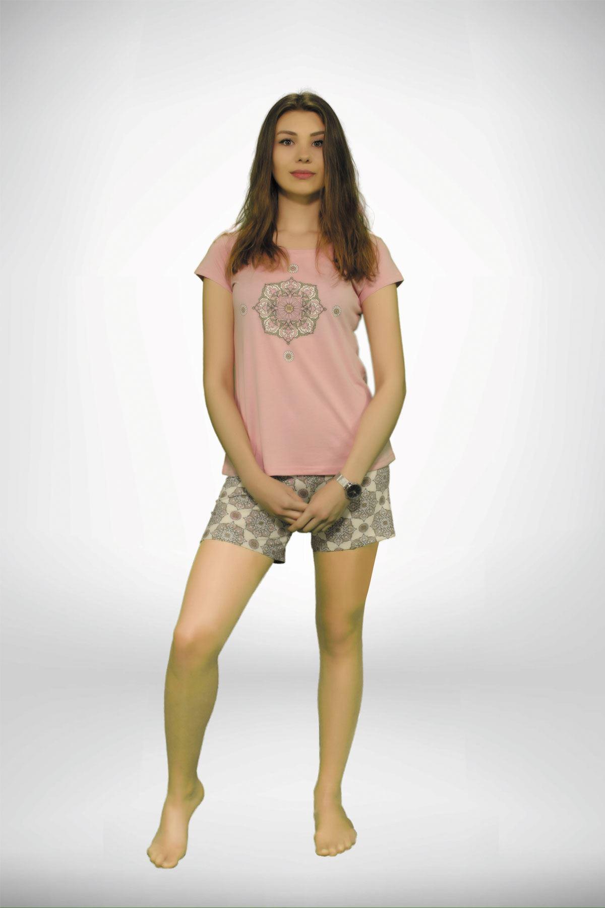Koyu Pembe Kadın Geniş Yaka Baskılı 3 lü Yazlık Pijama Takımı  5001