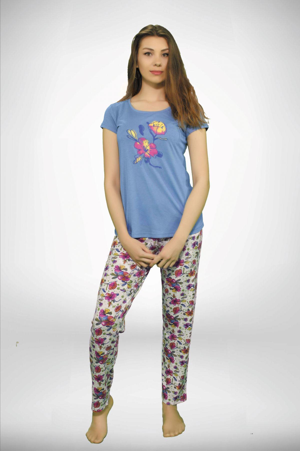 Mavi Kadın Geniş Yaka Baskılı 3 lü Yazlık Pijama Takımı  5001