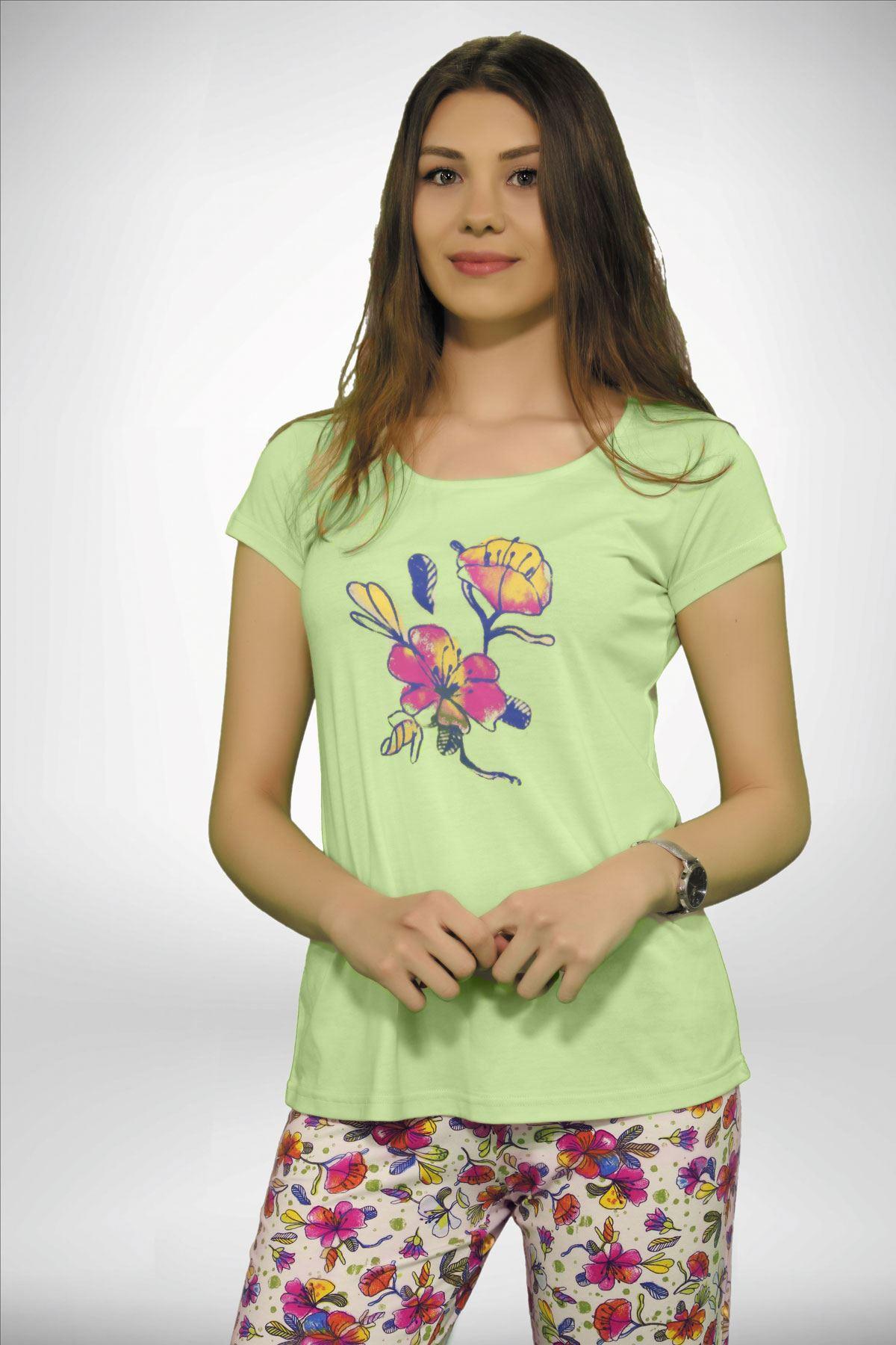 Yeşil Kadın Geniş Yaka Baskılı 3 lü Yazlık Pijama Takımı  5001