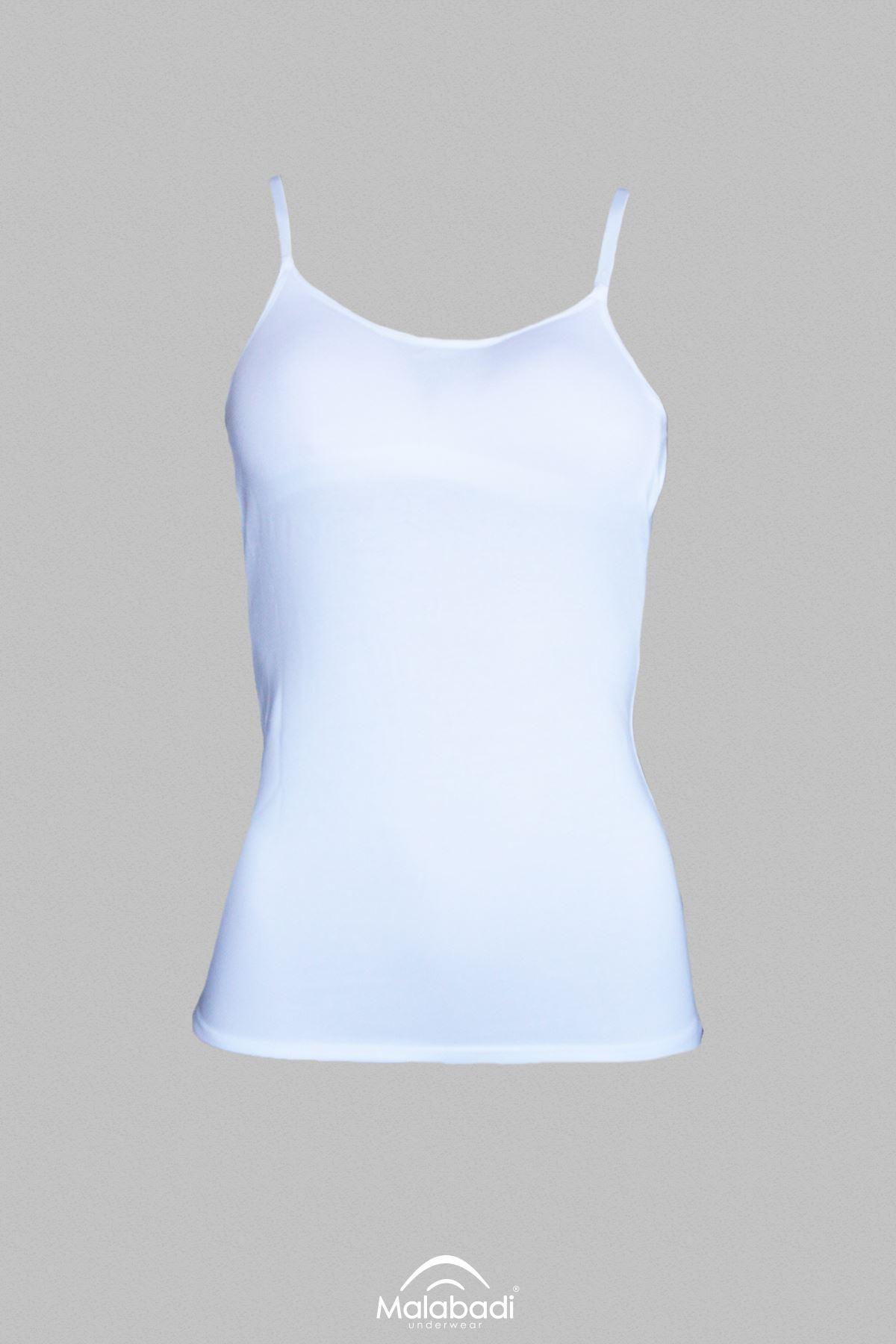 Beyaz Kadın İçi Kaplı İp Askılı Modal Atlet 824