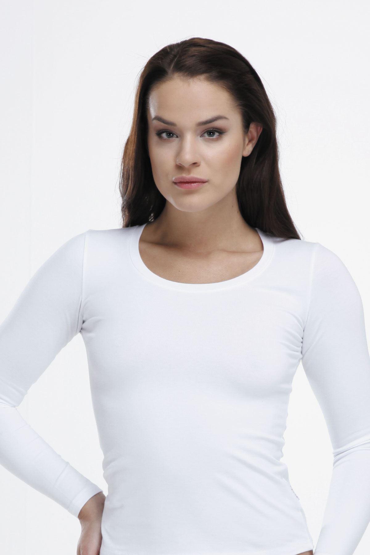 Beyaz Kadın Uzun Kol Açık Yaka Modal Body 1038