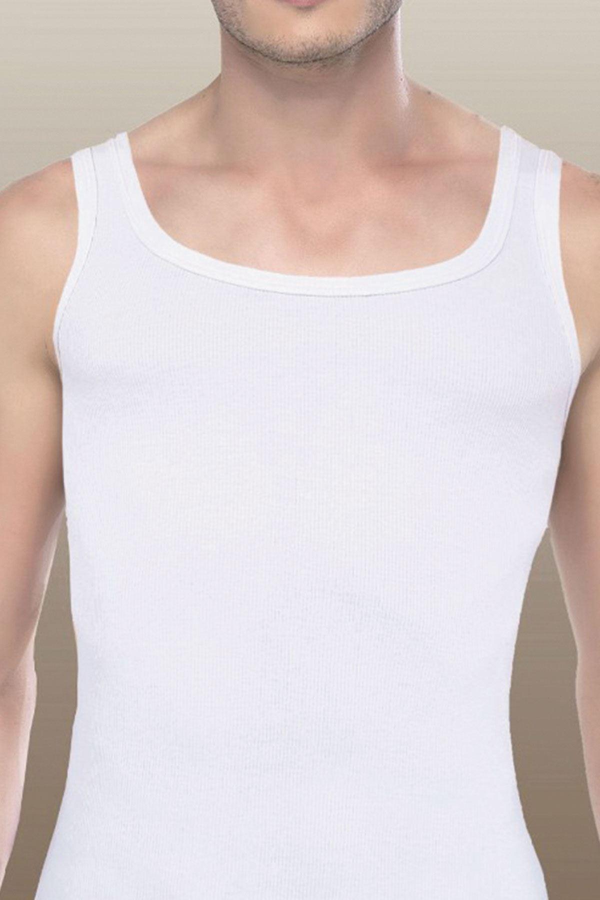 Beyaz Erkek Micro Modal Kaşkorse Fitilli Atlet 908