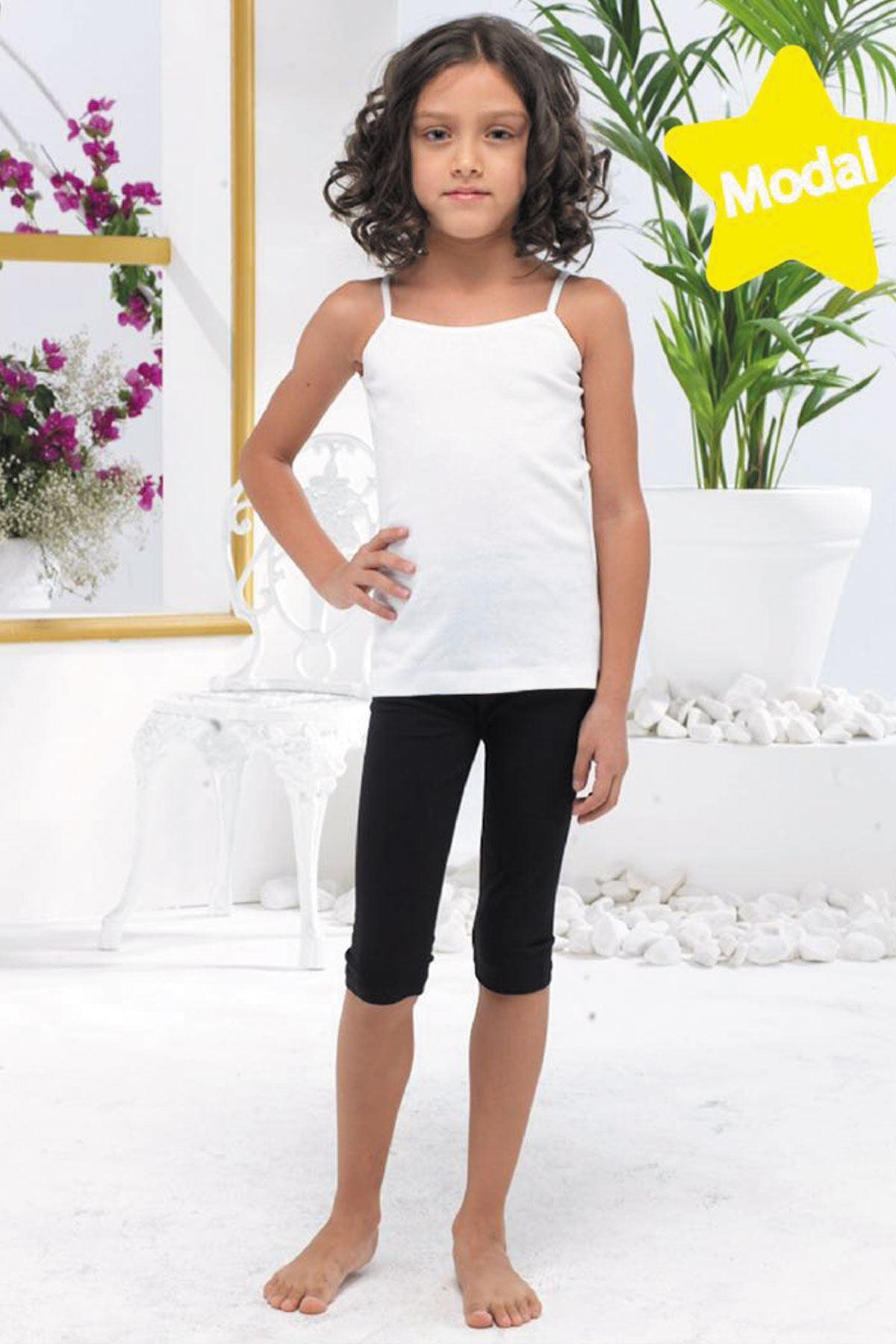 Beyaz Kız Çocuk Kapri Modal Tayt 311