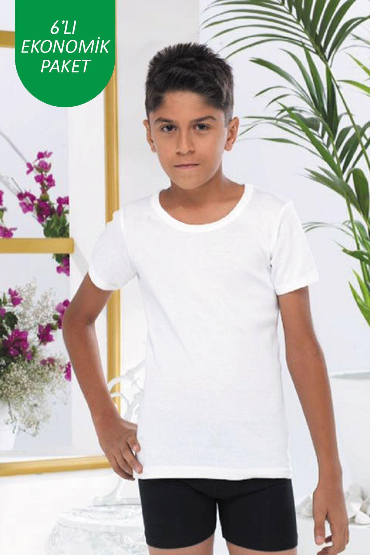 Beyaz Erkek Çocuk 6 lı Paket E Serisi Yuvarlak Yaka Kısa Kollu Ribana Fanila Atlet 202 - E