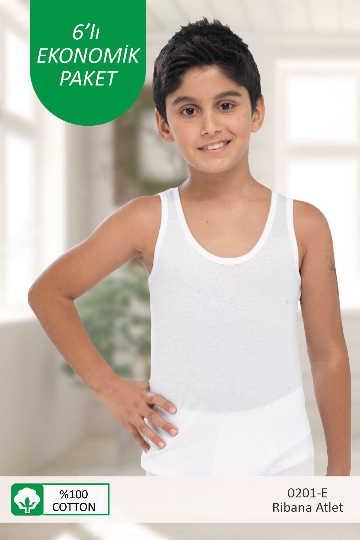 Beyaz Erkek Çocuk 6 ' Lı Ekonomik Paket E-Serisi Ribana Pamuklu Atlet 201-E