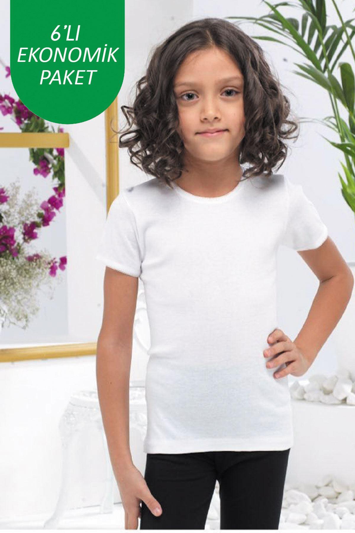 Beyaz Kız Çocuk 6 lı Ekonomik Paket E Serisi Yuvarlak Yaka Kısa Kollu Ribana Fanila Atlet 306 - E