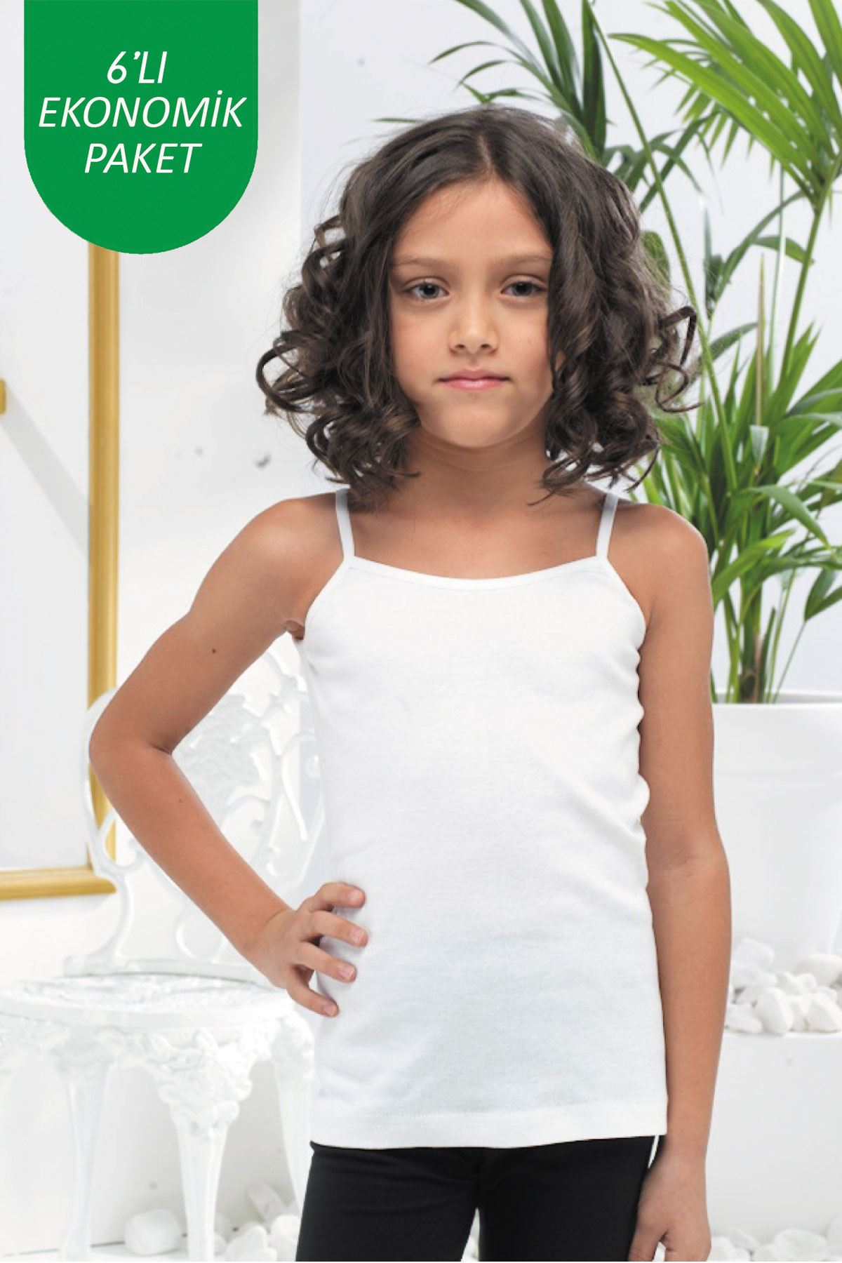 Beyaz Kız Çocuk 6 lı Paket E Serisi İp Askılı Ribana Atlet 315 - E
