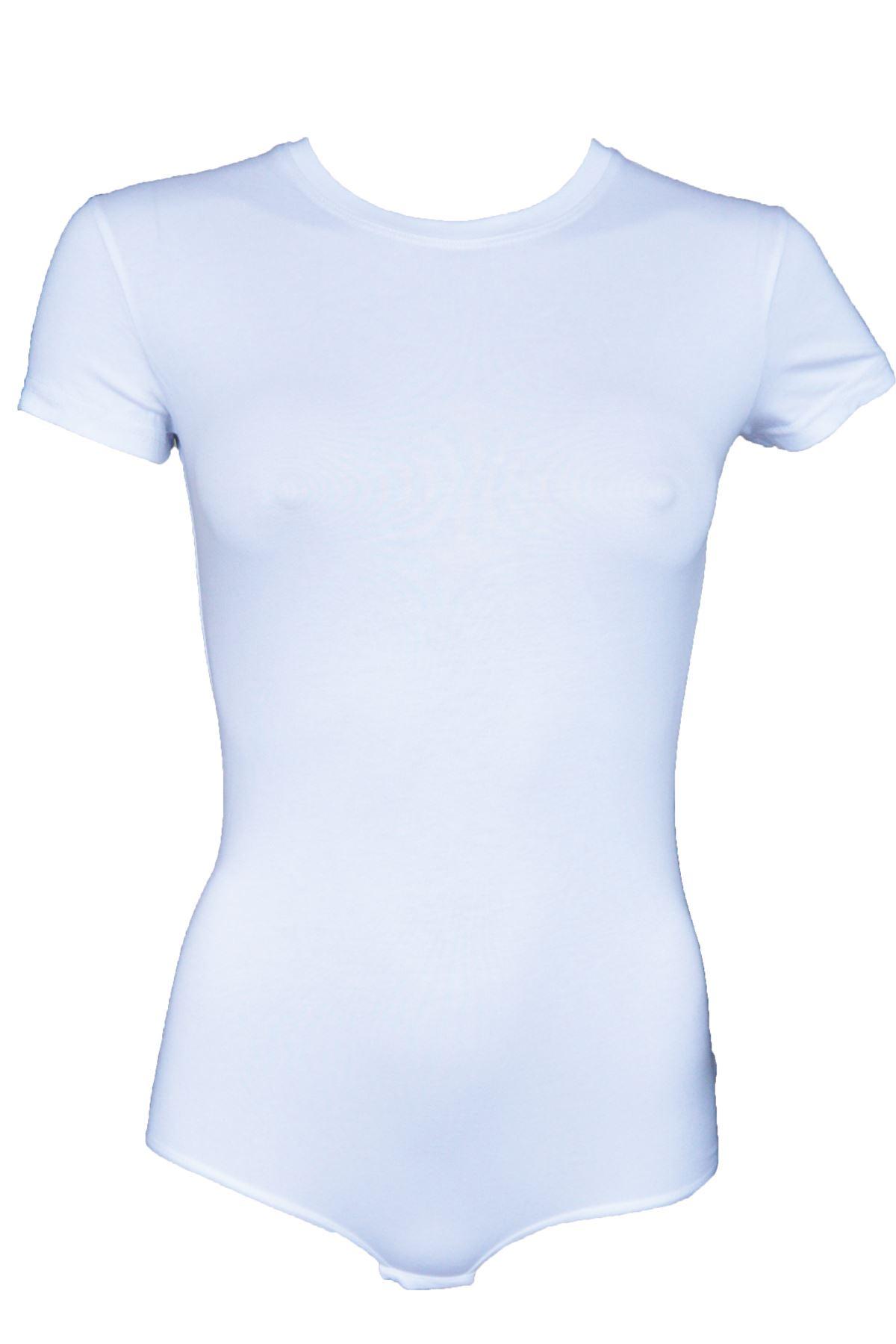 Beyaz Kadın Çıtçıtlı Kısa Kol Bisiklet Yaka Modal Body 138