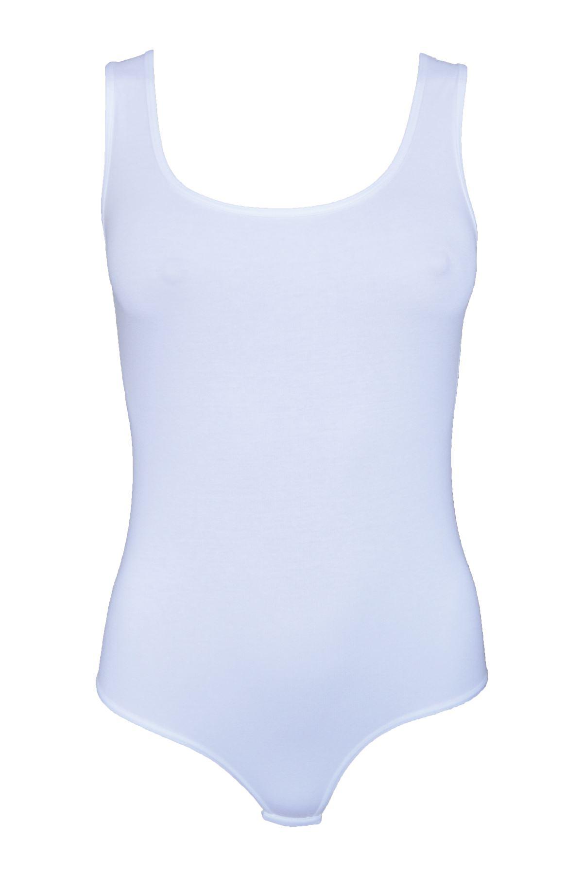 Beyaz Kadın Çıtçıtlı Kalın Askılı Cotton Atlet 115