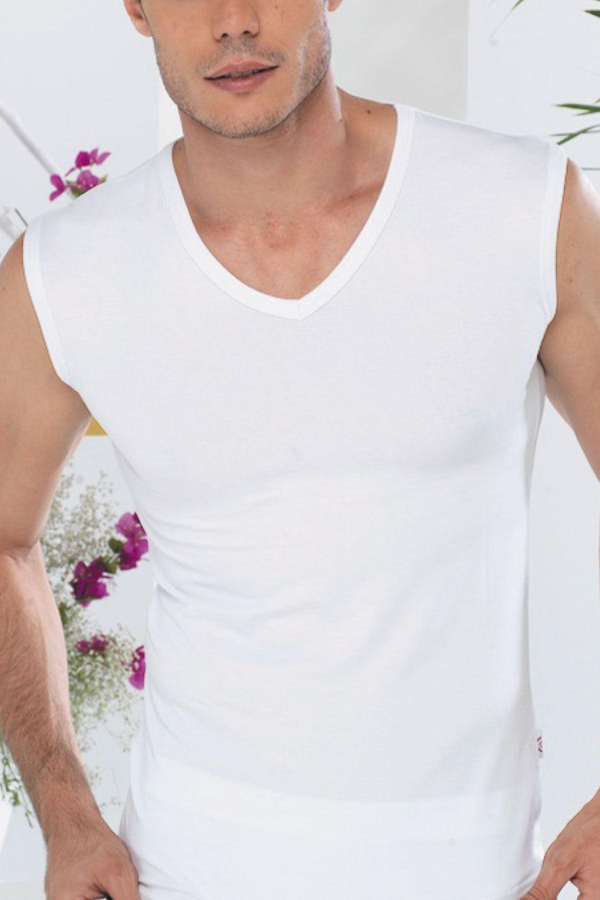 Beyaz Erkek V Yaka Kolsuz Yaz Atleti 095