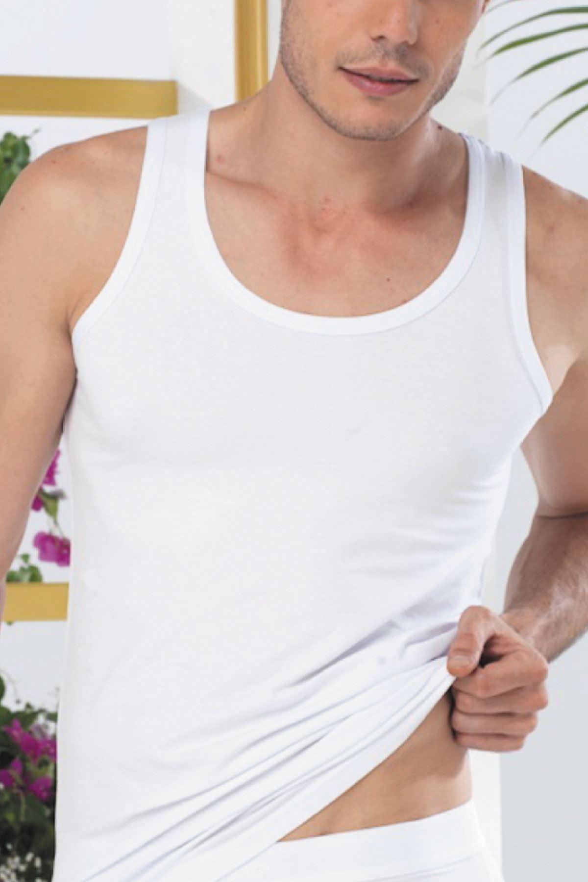 Beyaz Erkek Likralı Cotton Atlet 090