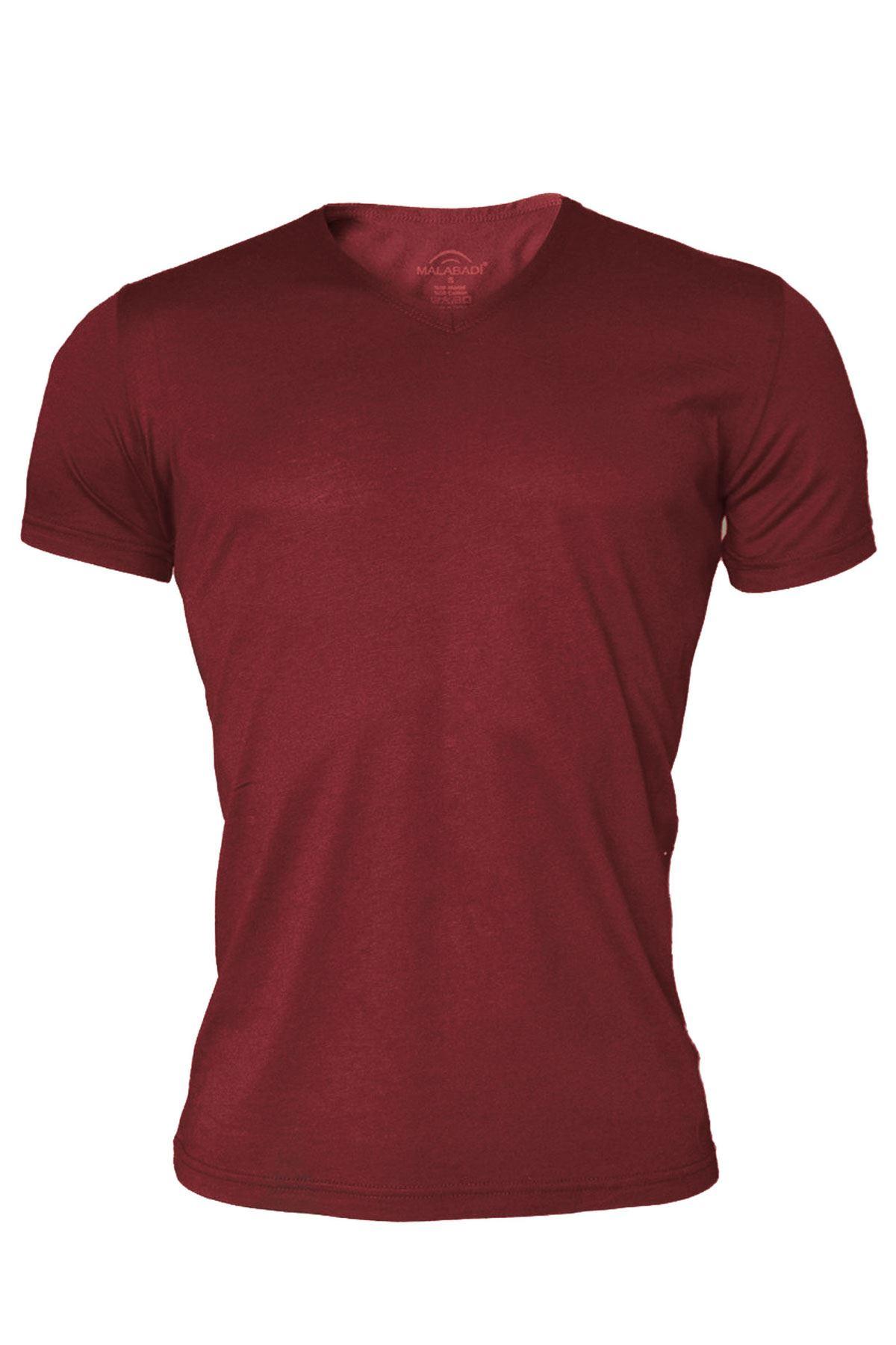 Bordo Erkek V Yaka Yaz Serinliği Tshirt 085