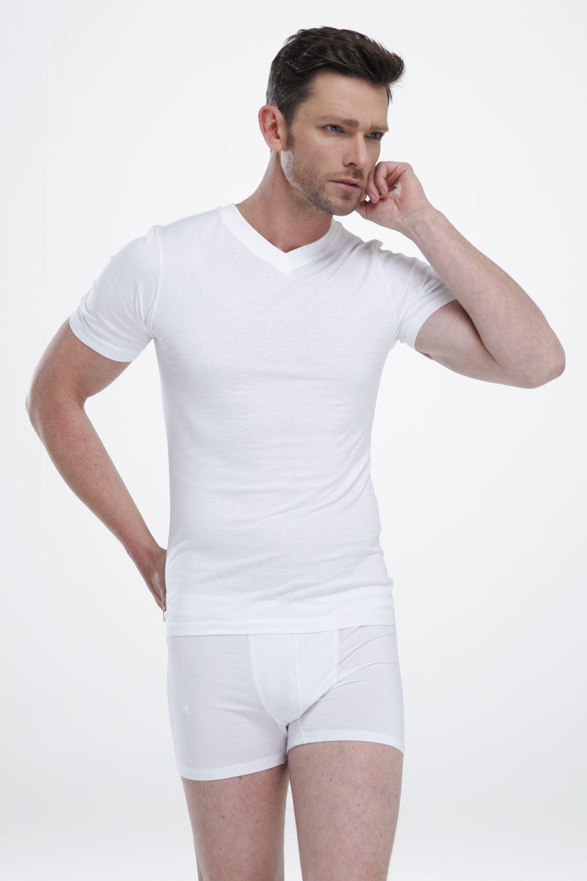 Beyaz Erkek V Yaka Kısa Kol Süprem Fanila Cotton 005