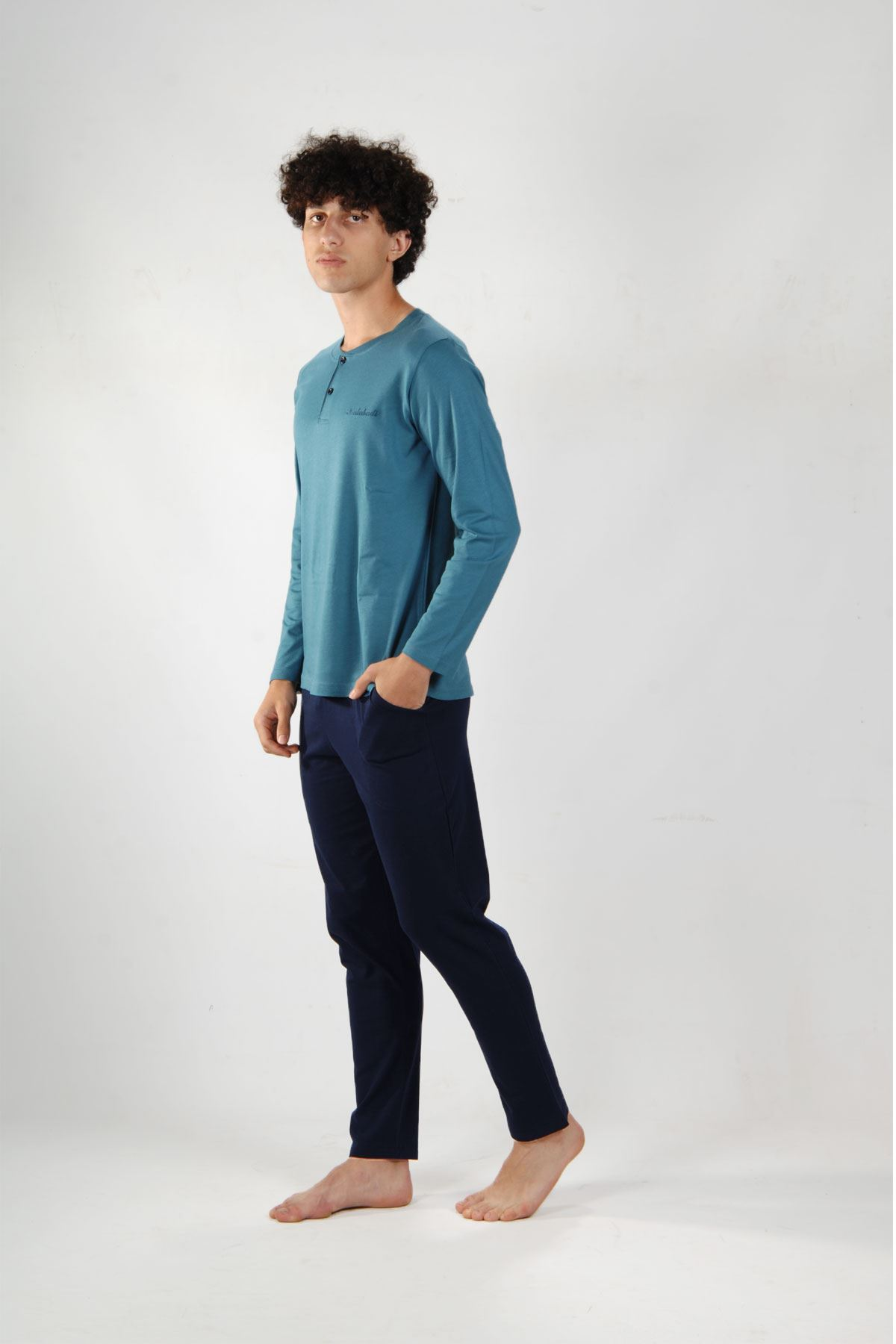 Mavi Erkek Pijama Takımı Düğmeli Yaka Kışlık Uzun Kollu Pijama 6010