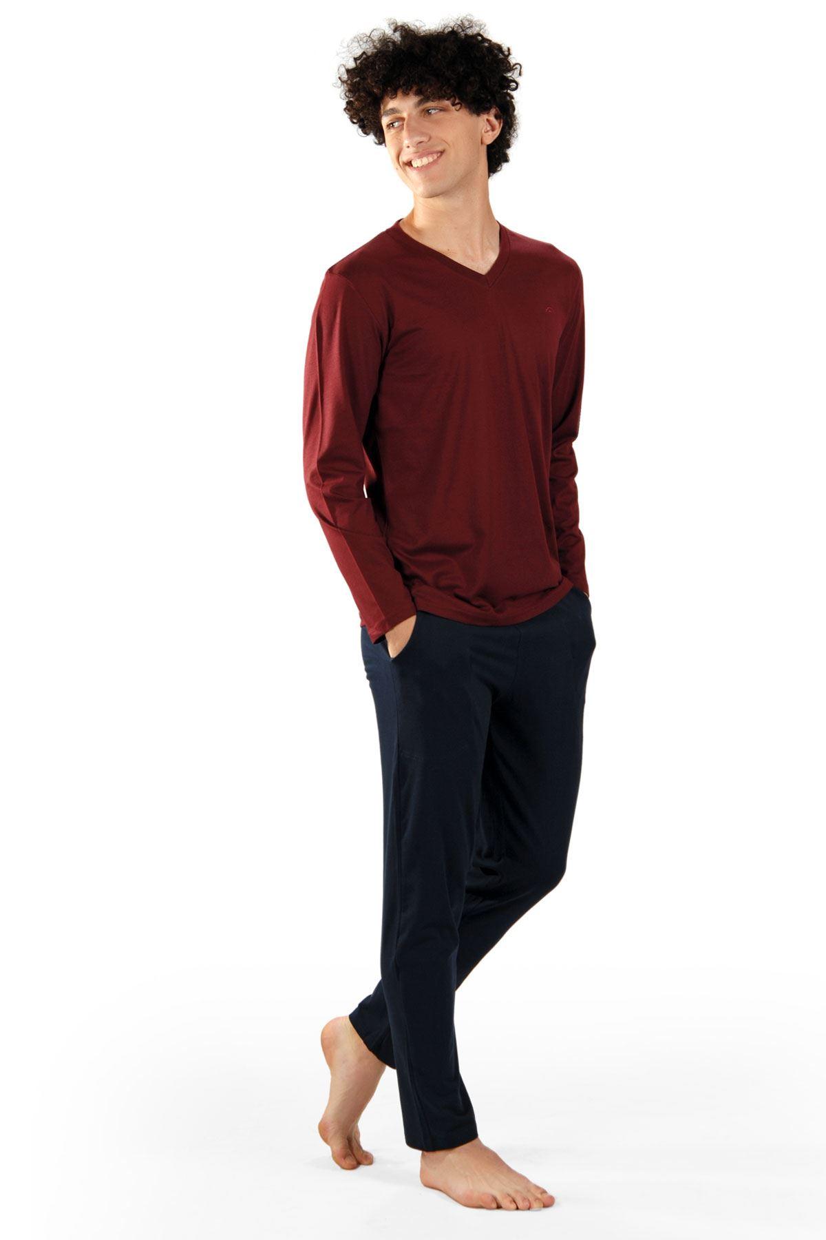 Bordo Erkek Pijama Takımı V Yaka Kışlık Uzun Kollu Pijama 6011