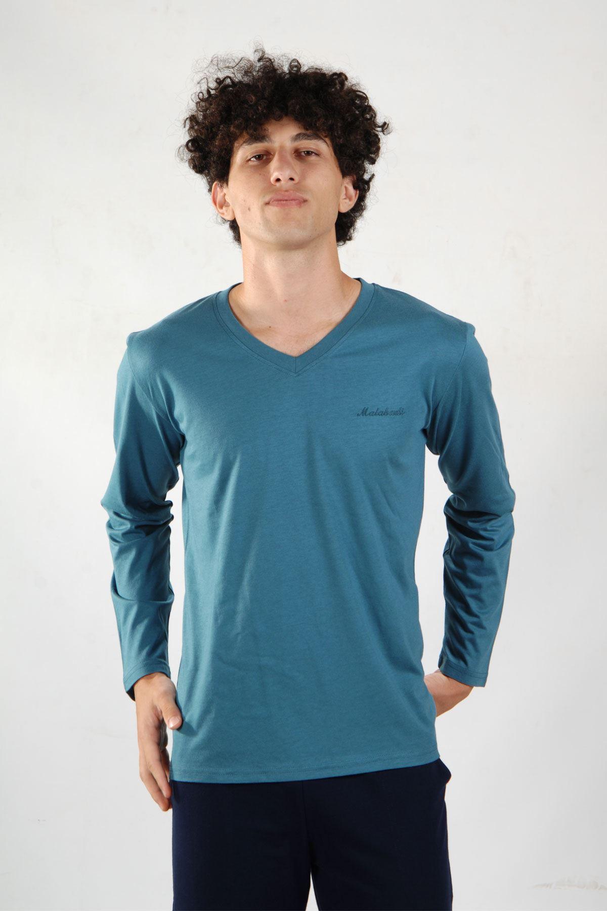 Mavi Erkek Pijama Takımı V Yaka Kışlık Uzun Kollu Pijama 6011