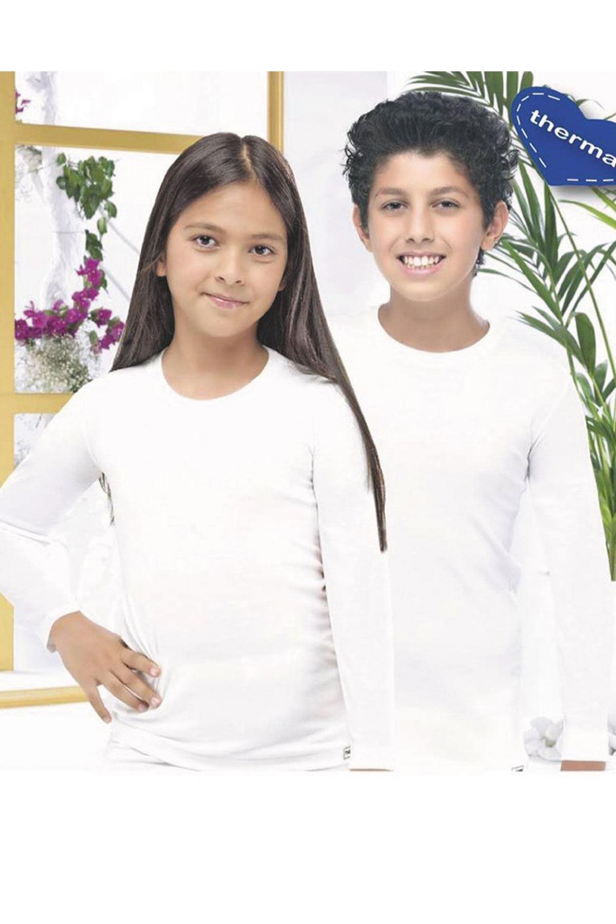 Ekru Unisex Çocuk Termal İçlik Uzun Kollu Fanila 405
