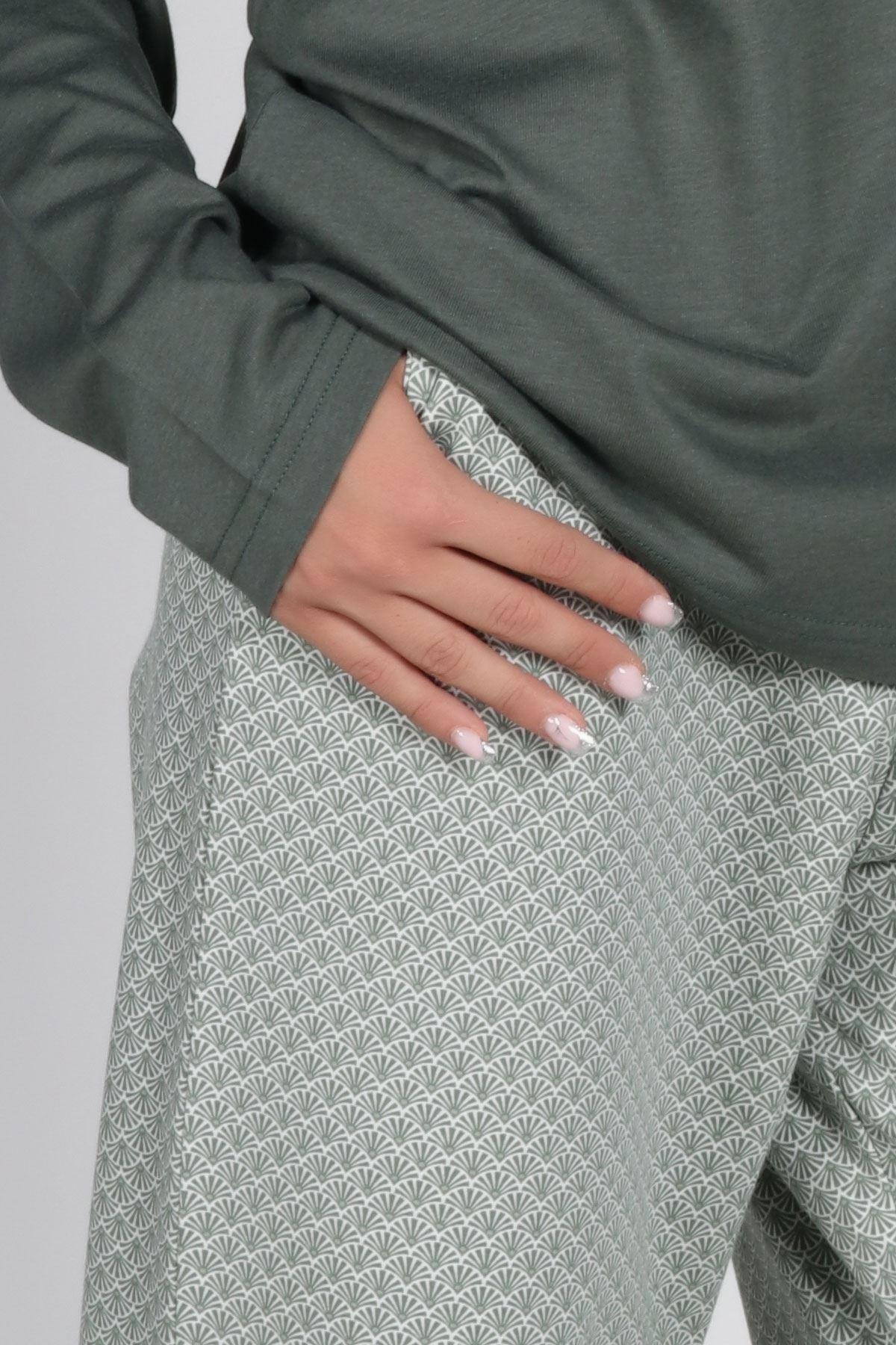 Yeşil Kadın Pijama Takımı Açık Yaka Kışlık Uzun Kollu Pijama 5002