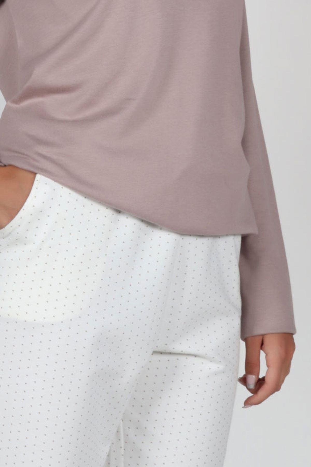 Vizon Kadın Pijama Takımı Açık Yaka Kışlık Uzun Kollu Pijama 5002