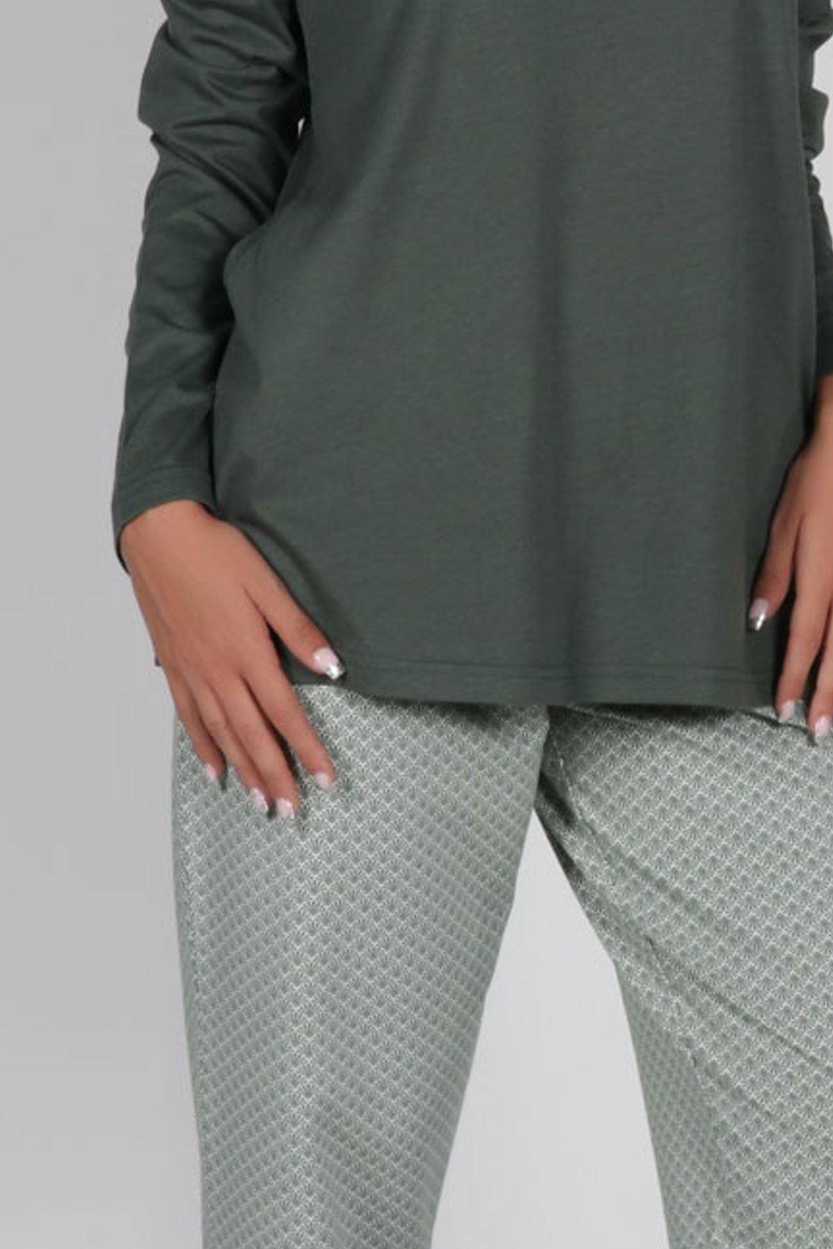 Yeşil Kadın Pijama Takımı Düğmeli Yaka Kışlık Uzun Kollu Pijama 5003