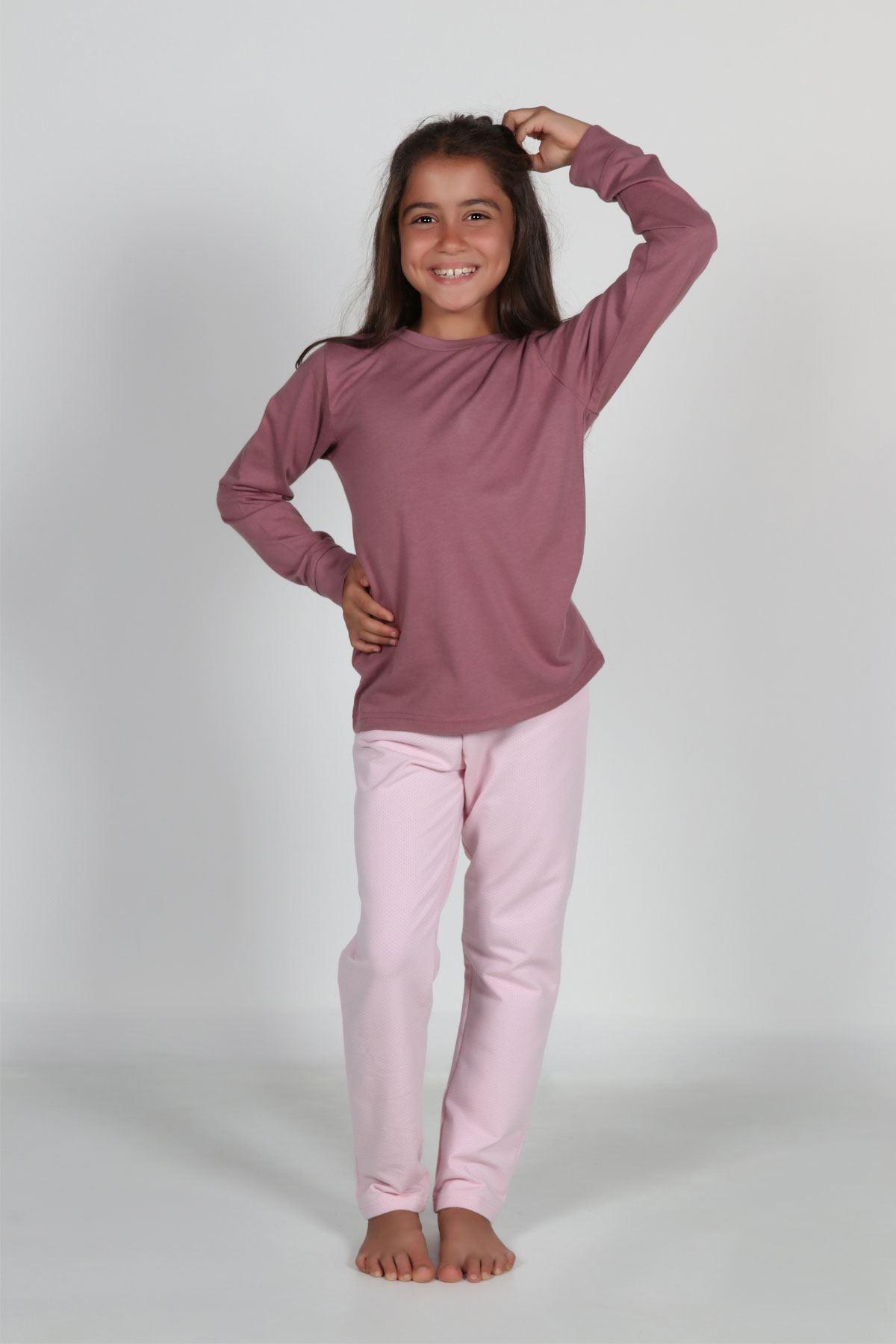 Gül Kurusu Kız Çocuk Pijama Takımı Kışlık Uzun Kollu Pijama 4002