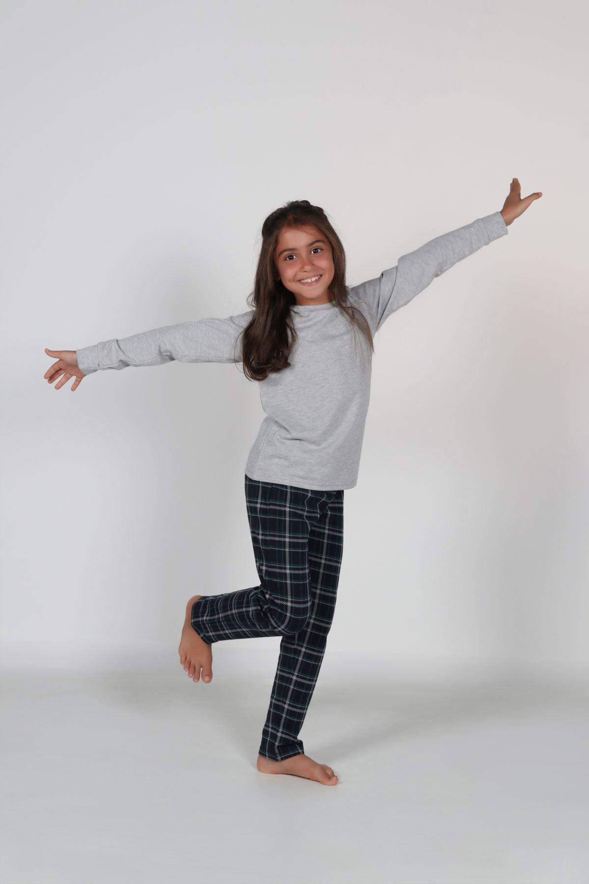 Gri Ekoseli Kız Çocuk Pijama Takımı Kışlık Uzun Kollu Pijama 4002