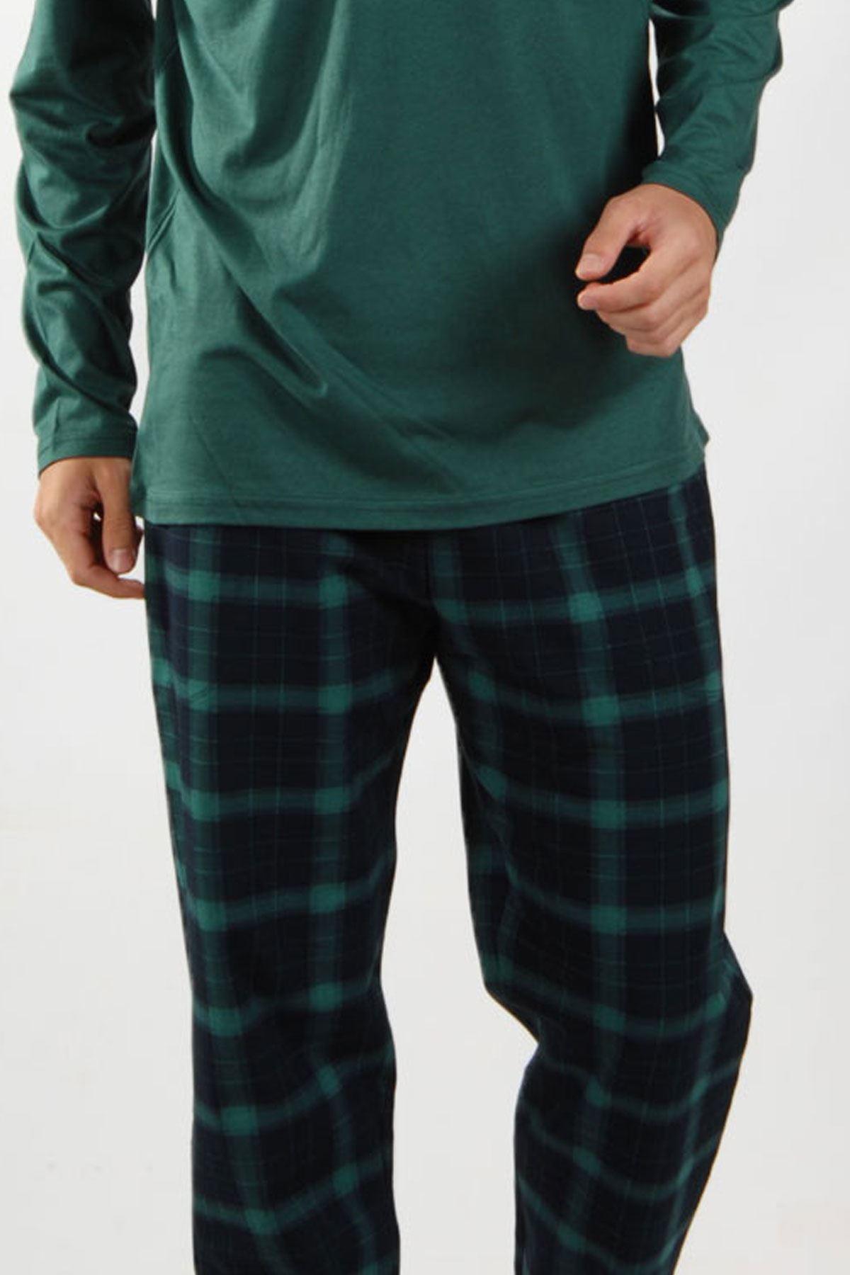 Yeşil Ekoseli Erkek Pijama Takımı V Yaka Kışlık Uzun Kollu Pijama 6014