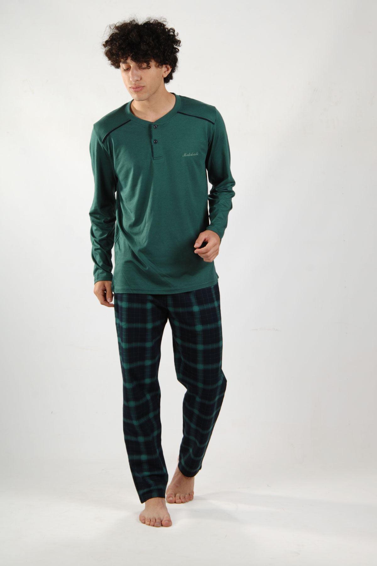 Yeşil Ekoseli Erkek Pijama Takımı Düğmeli Yaka Kışlık Uzun Kollu Pijama 6015