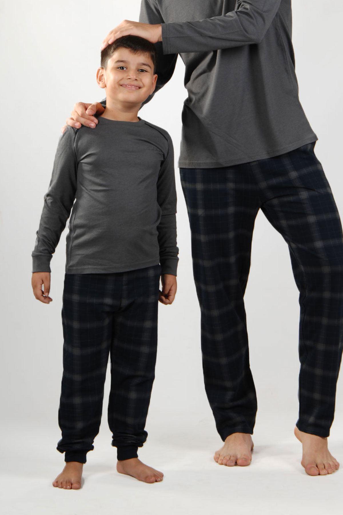 Füme Ekoseli Erkek Pijama Takımı Düğmeli Yaka Kışlık Uzun Kollu Pijama 6015