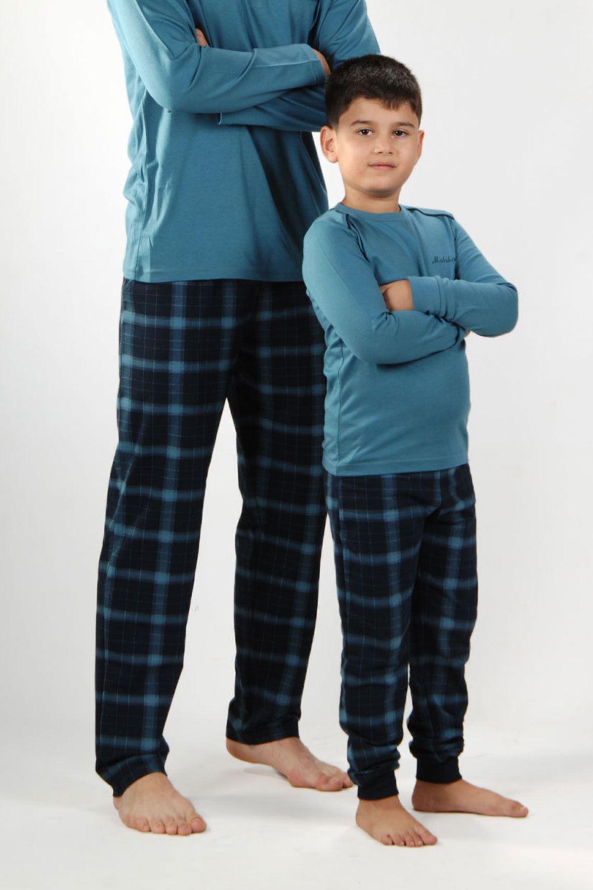 Mavi Ekoseli Erkek Pijama Takımı V Yaka Kışlık Uzun Kollu Pijama 6014