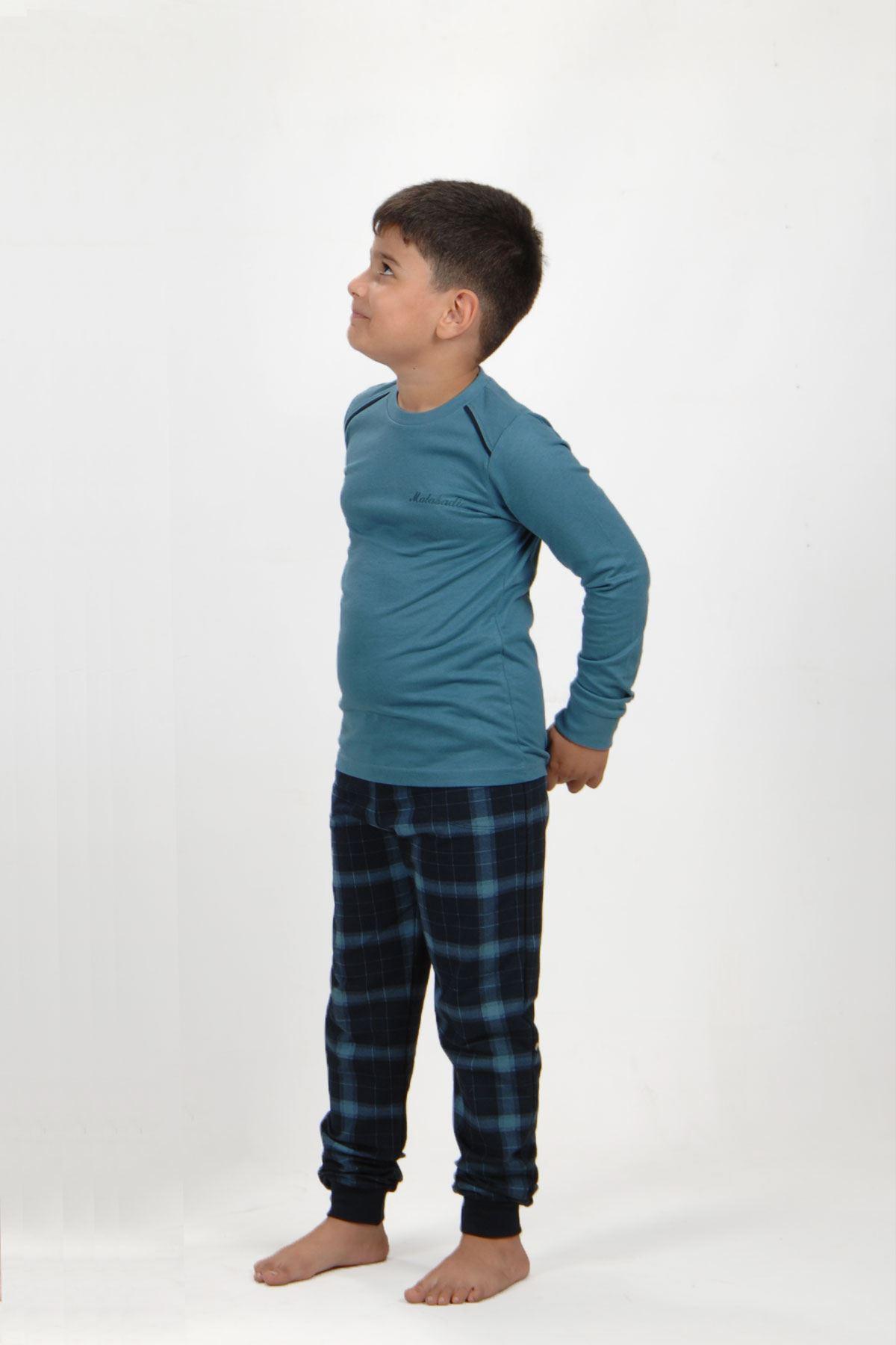 Mavi Ekoseli Erkek Çocuk Pijama Takımı Kışlık Uzun Kollu Pijama 3002