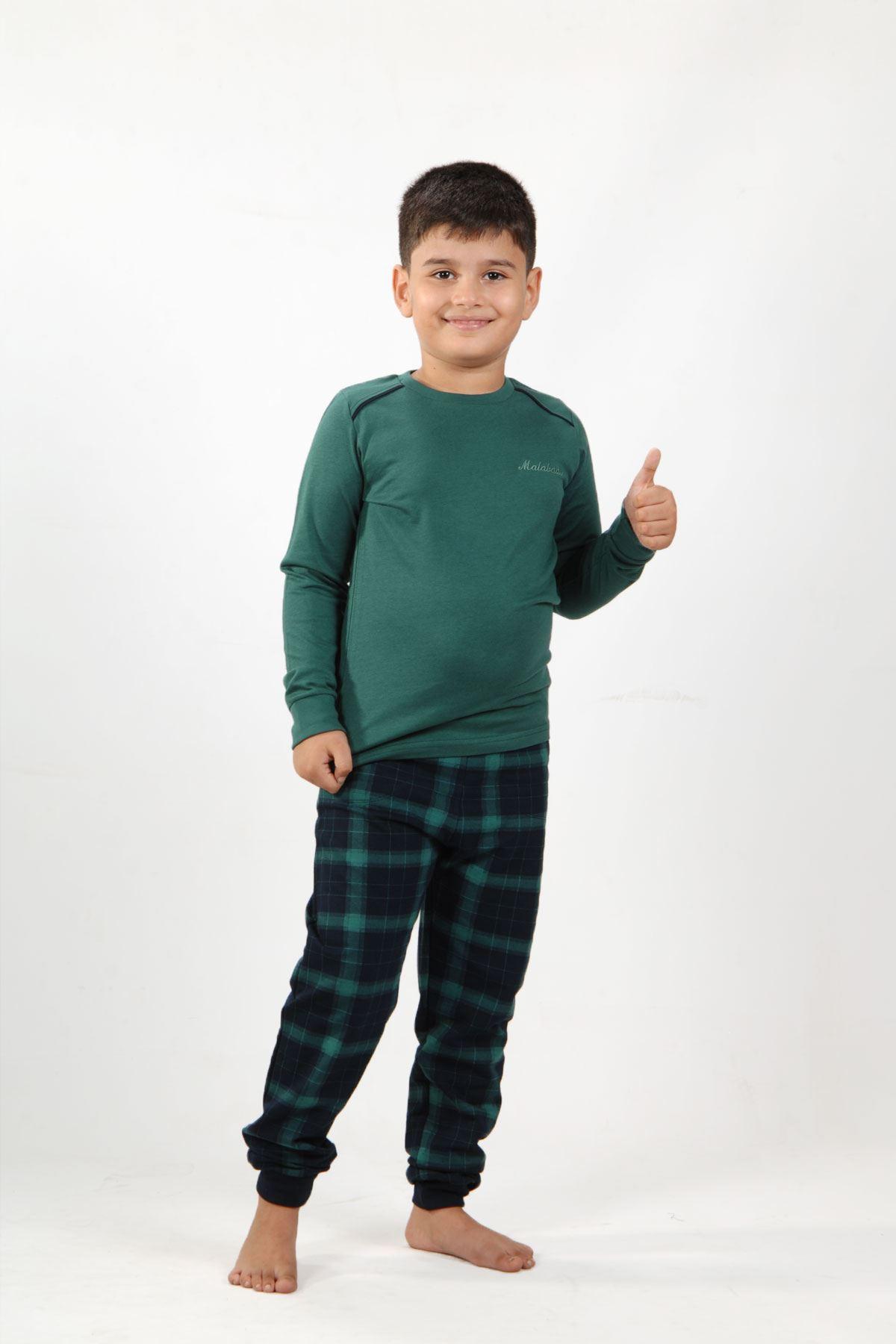 Yeşil Ekoseli Erkek Çocuk Pijama Takımı Kışlık Uzun Kollu Pijama 3002