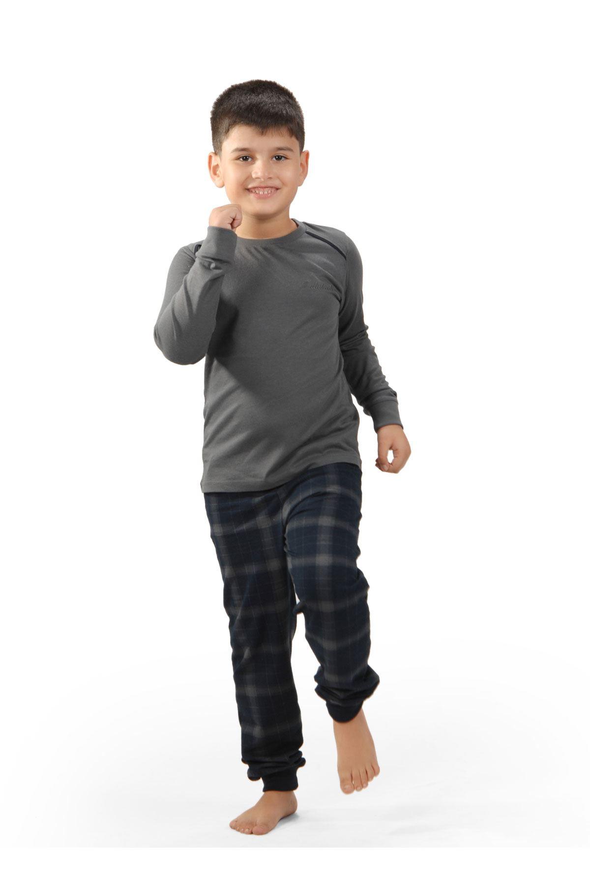 Antrasit Ekoseli Erkek Çocuk Pijama Takımı Kışlık Uzun Kollu Pijama 3002