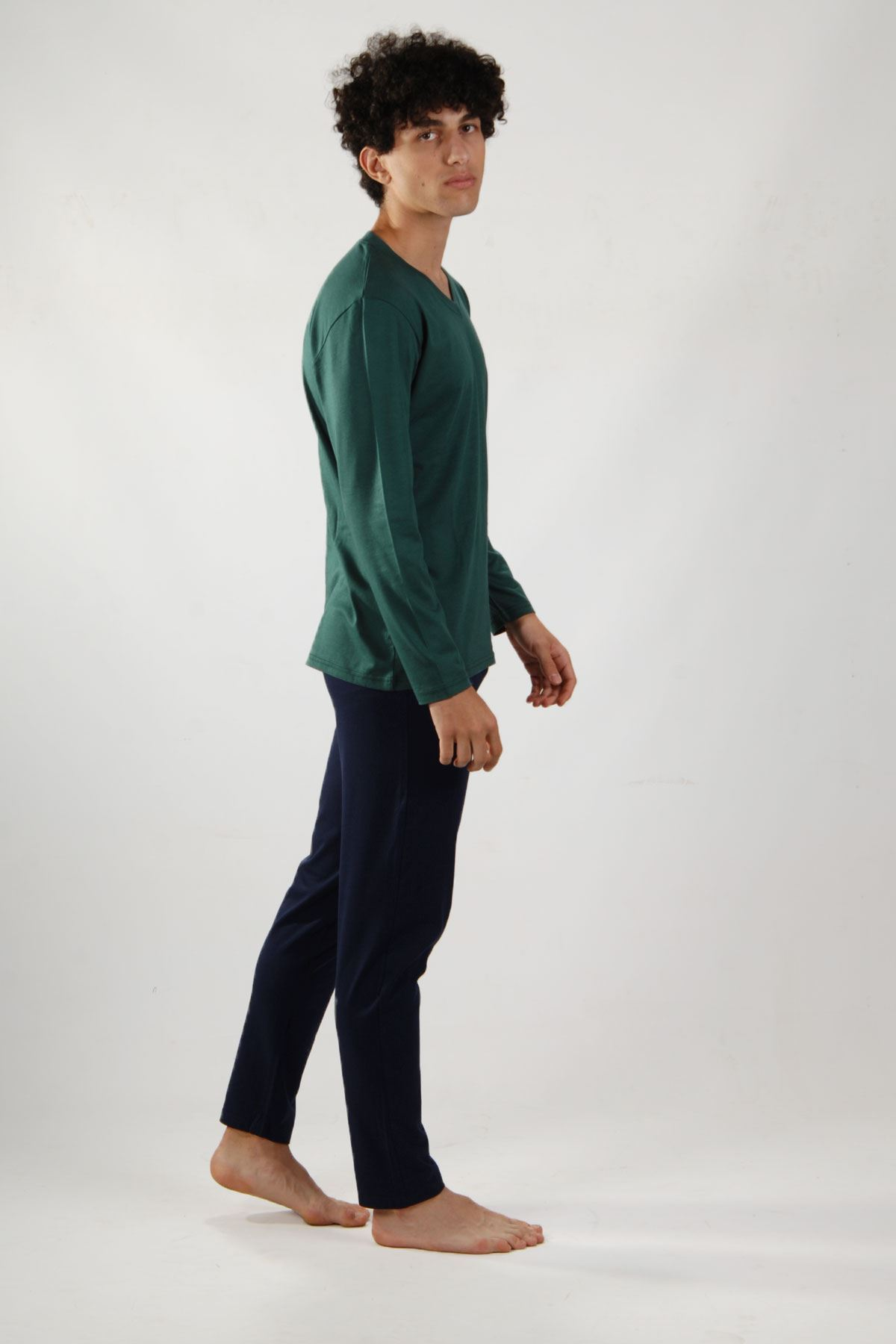 Outlet Yeşil Erkek Pijama Takımı V Yaka Uzun Kollu Pijama 6007