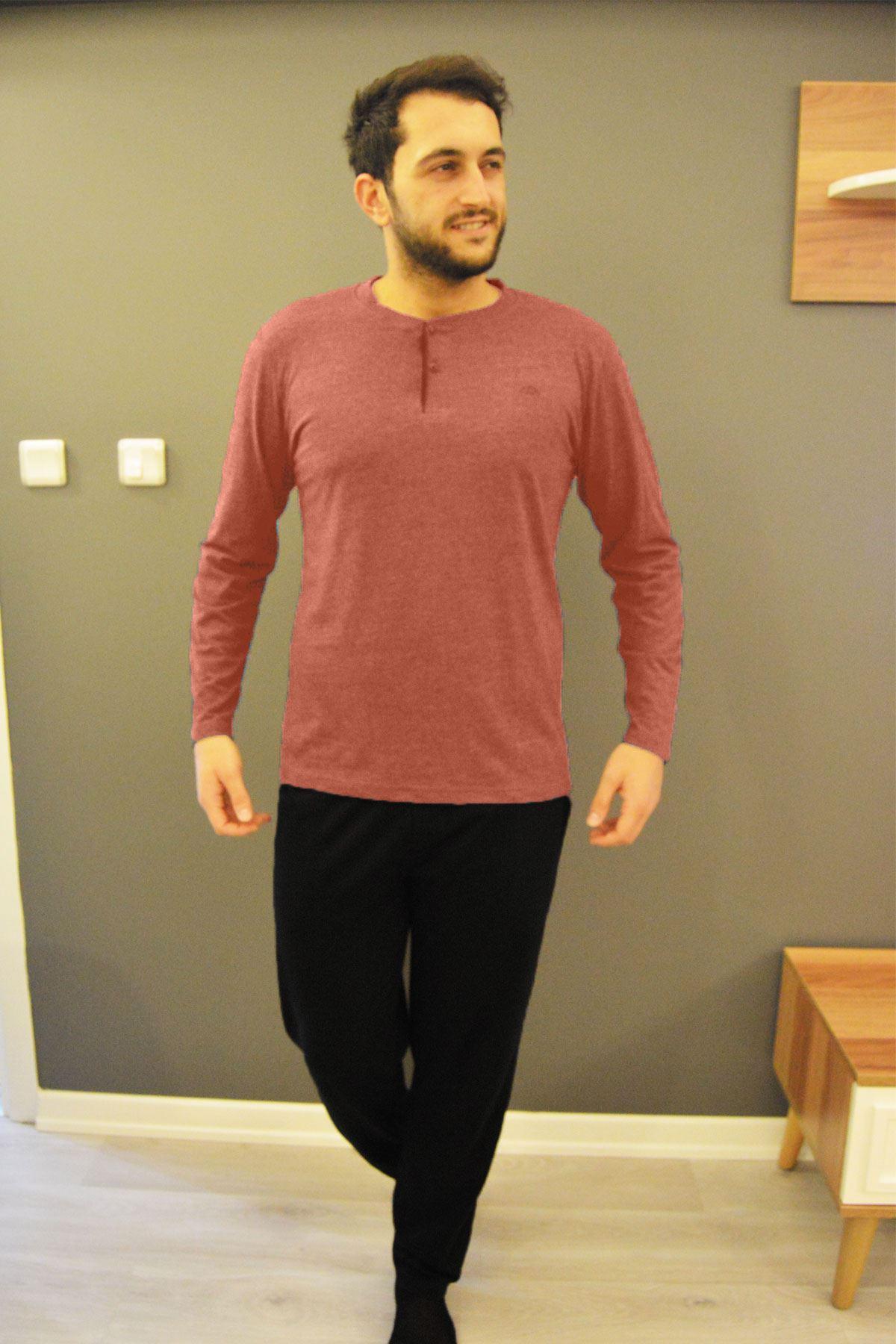 Outlet Pudra Erkek Pijama Takımı Düğmeli Yaka Uzun Kollu Pijama 6008