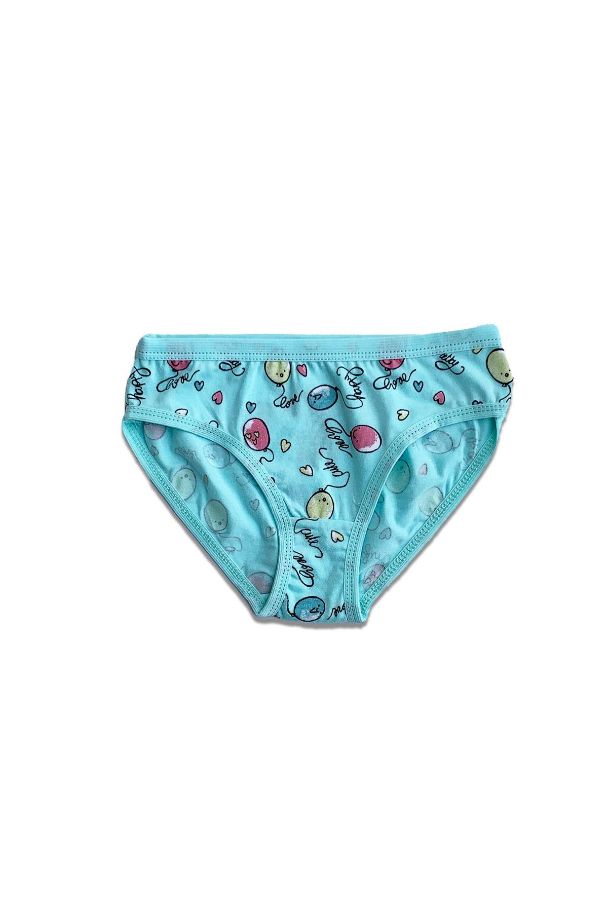 Yeşil Kız Çocuk Slip 6 lı Paket Desenli Likralı Modal Slip Külot 332-E