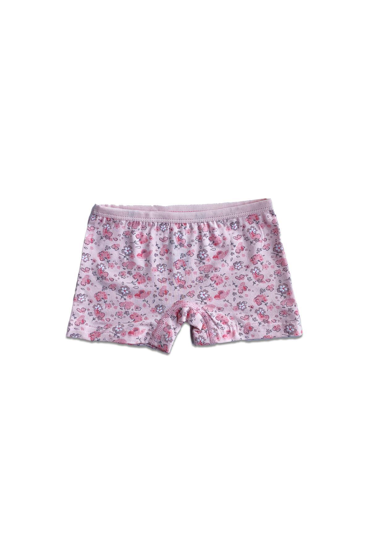 Pembe Kız Çocuk Boxer 6 lı Paket Desenli Likralı Modal Şort Boxer 333-E