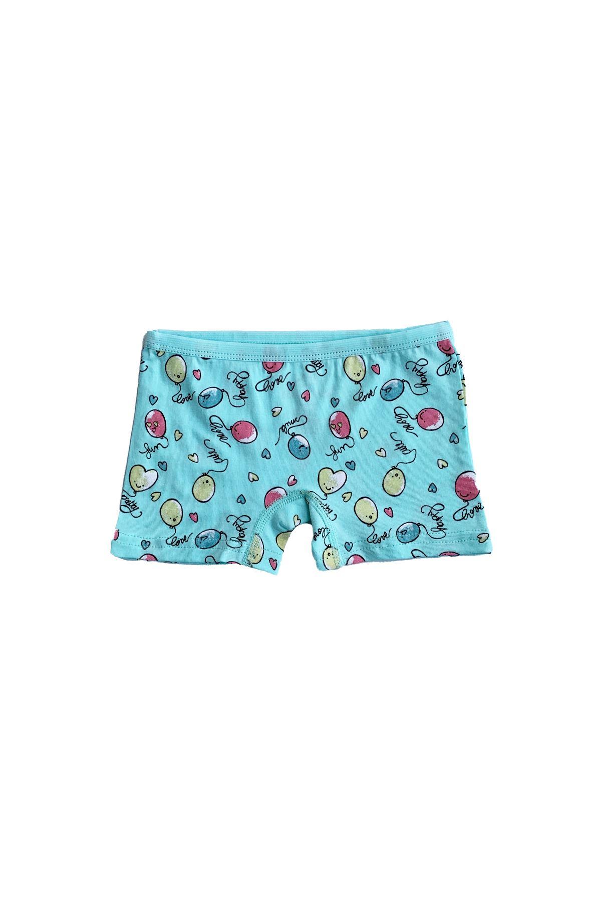 Çok Renkli Kız Çocuk Boxer 6 Lı Paket Modal Şort Külot 333-E6