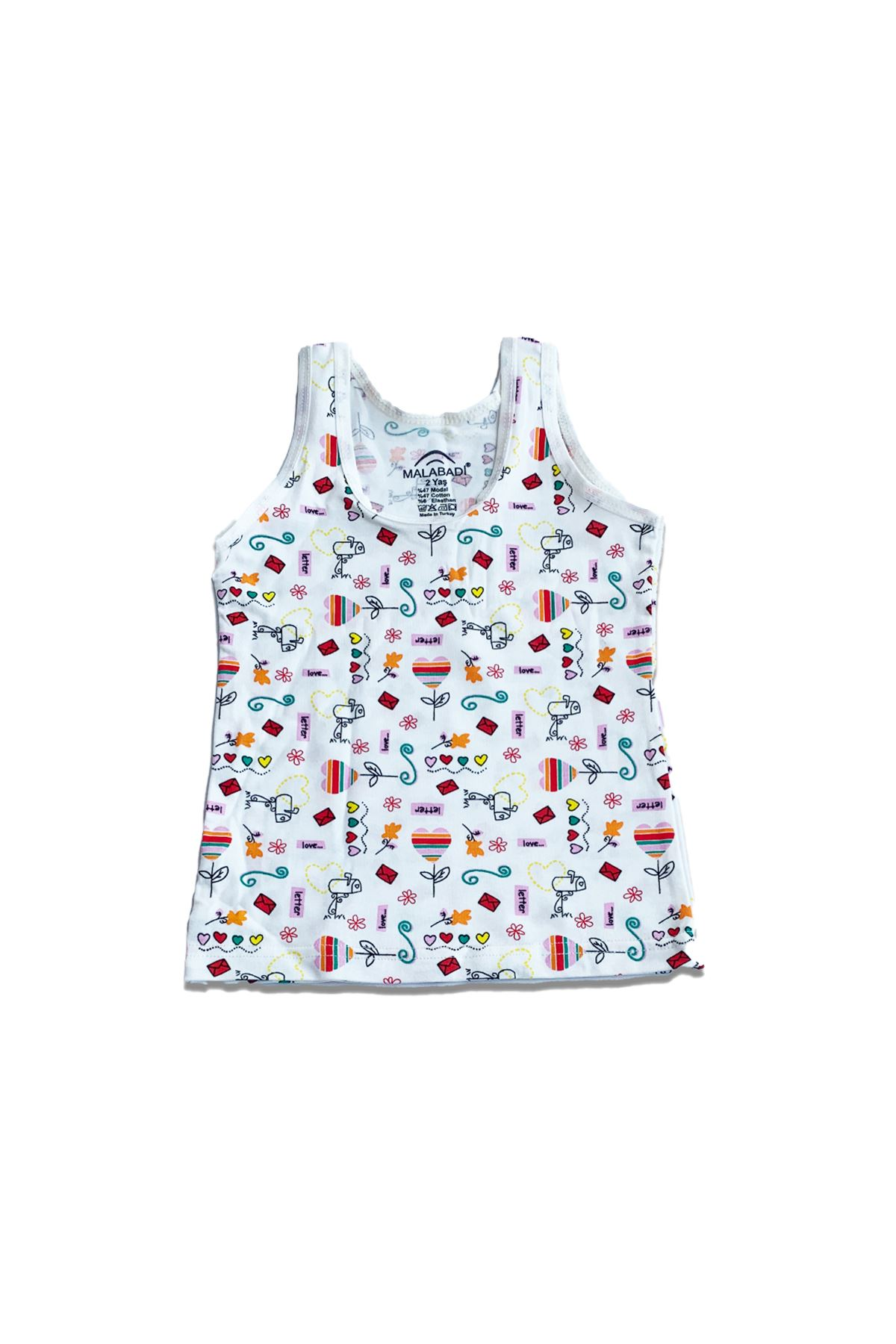 Kız Çocuk Renkli 6 Lı Paket Iç Giyim Takımı Geniş Askılı Atlet Boxer 333331-e3