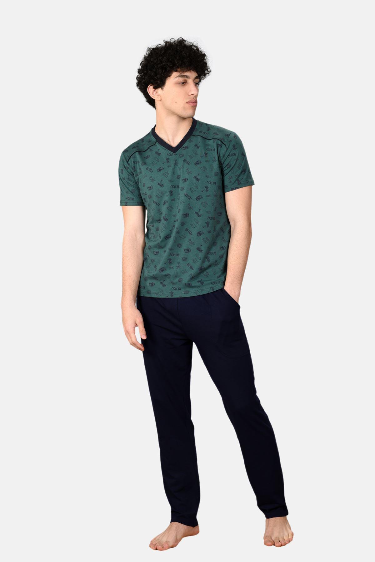 Yeşil Erkek 3 Parça V Yaka Desenli Yazlık Pijama Takımı 6012