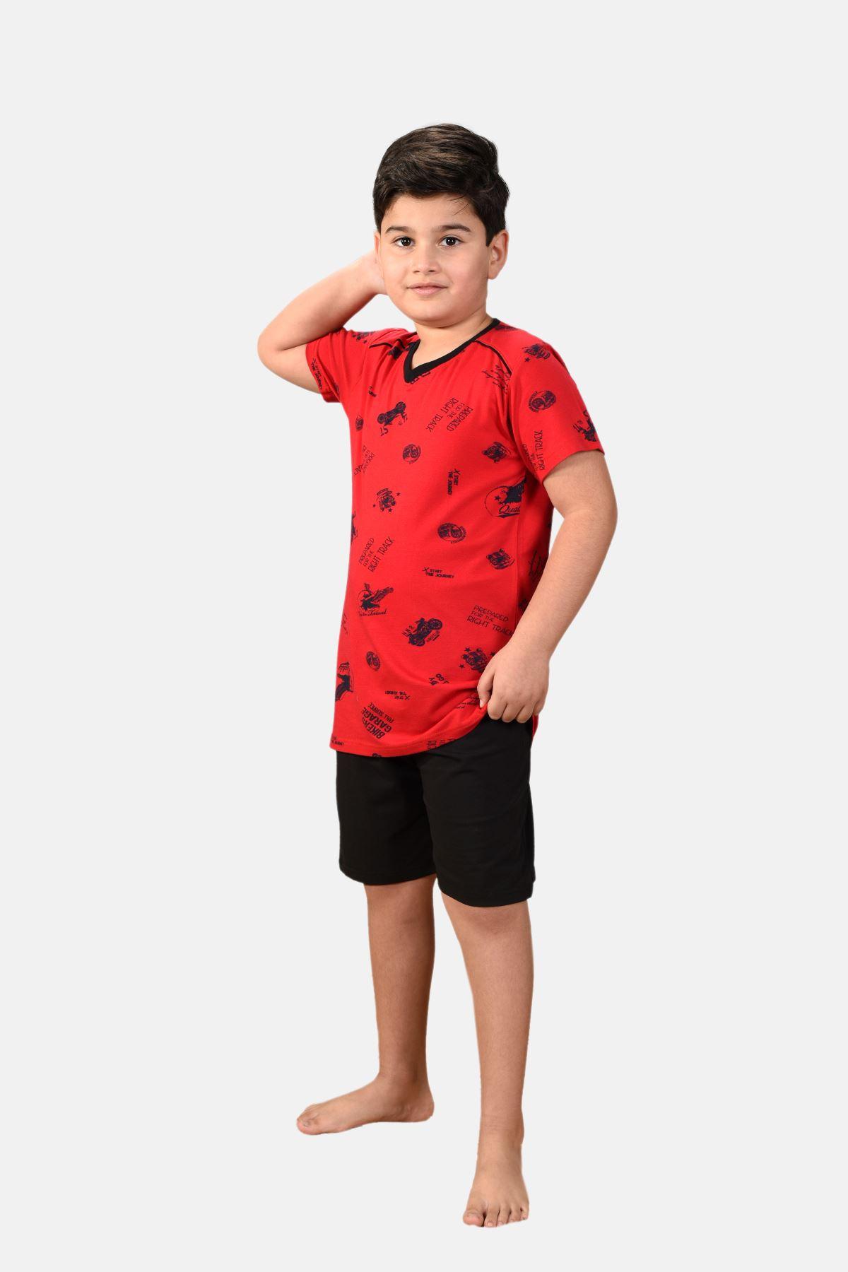 Kırmızı Erkek Çocuk 3 Parça Desenli Yazlık Pijama Takımı 2-14 Yaş 3001