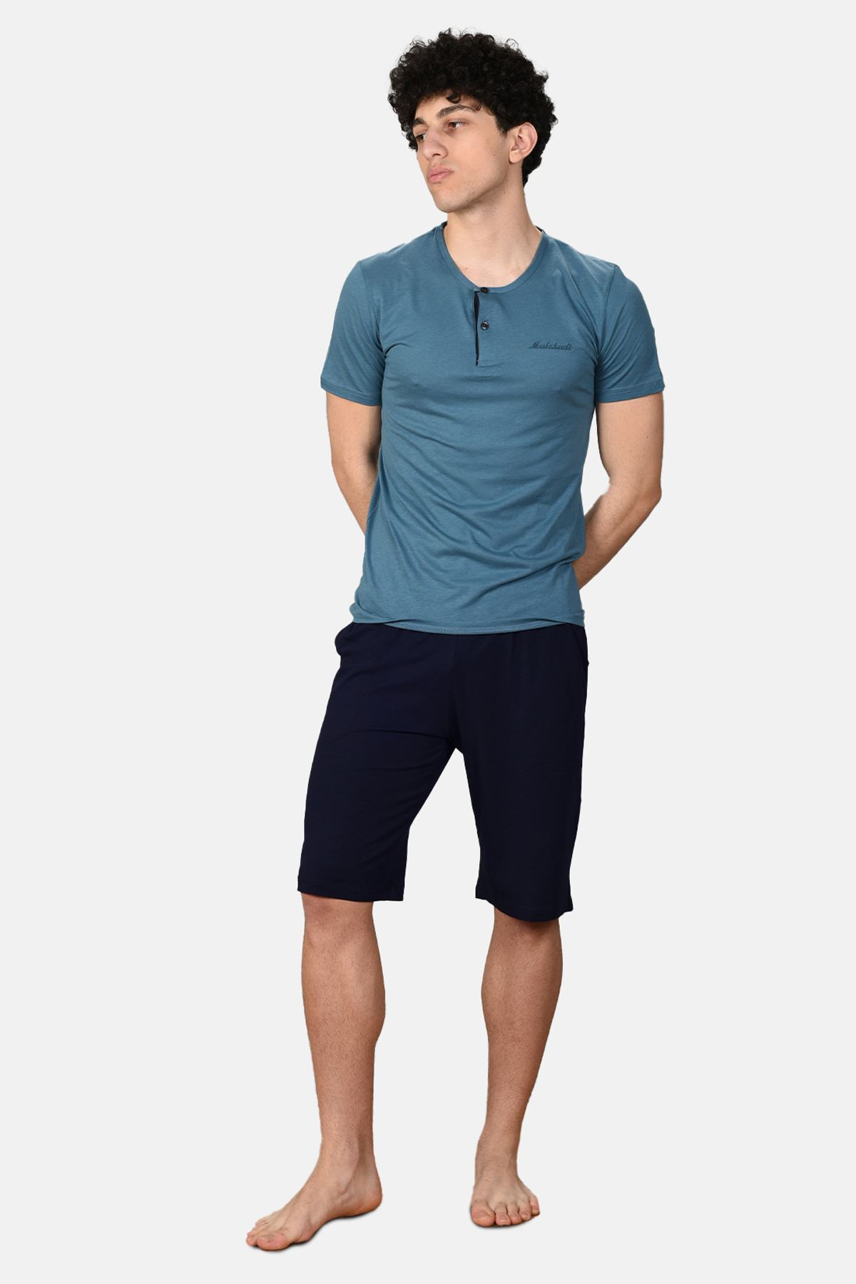 Mavi Erkek 3 lü Düğmeli Yazlık Pijama Takımı 6001