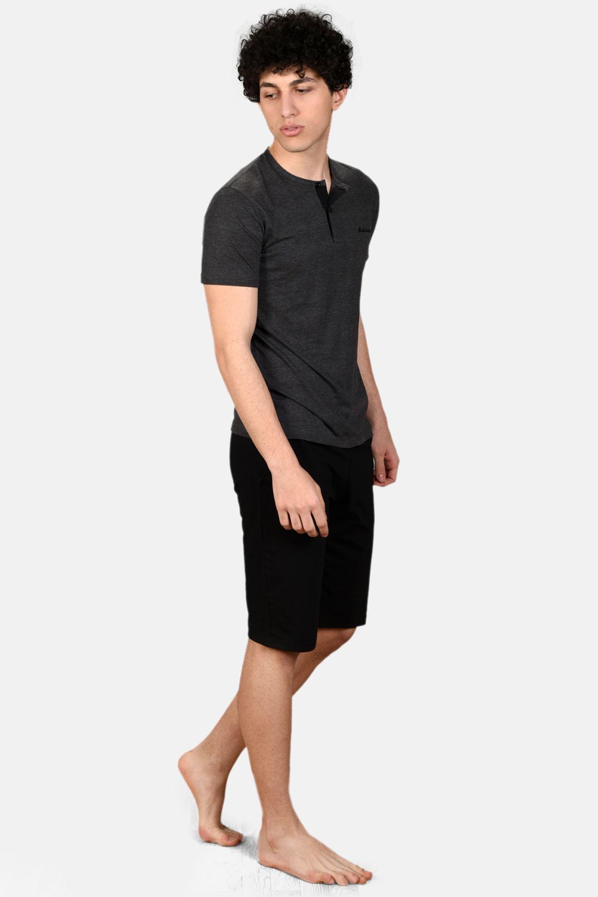 Antrasit Erkek 3 lü Düğmeli Yazlık Pijama Takımı 6001