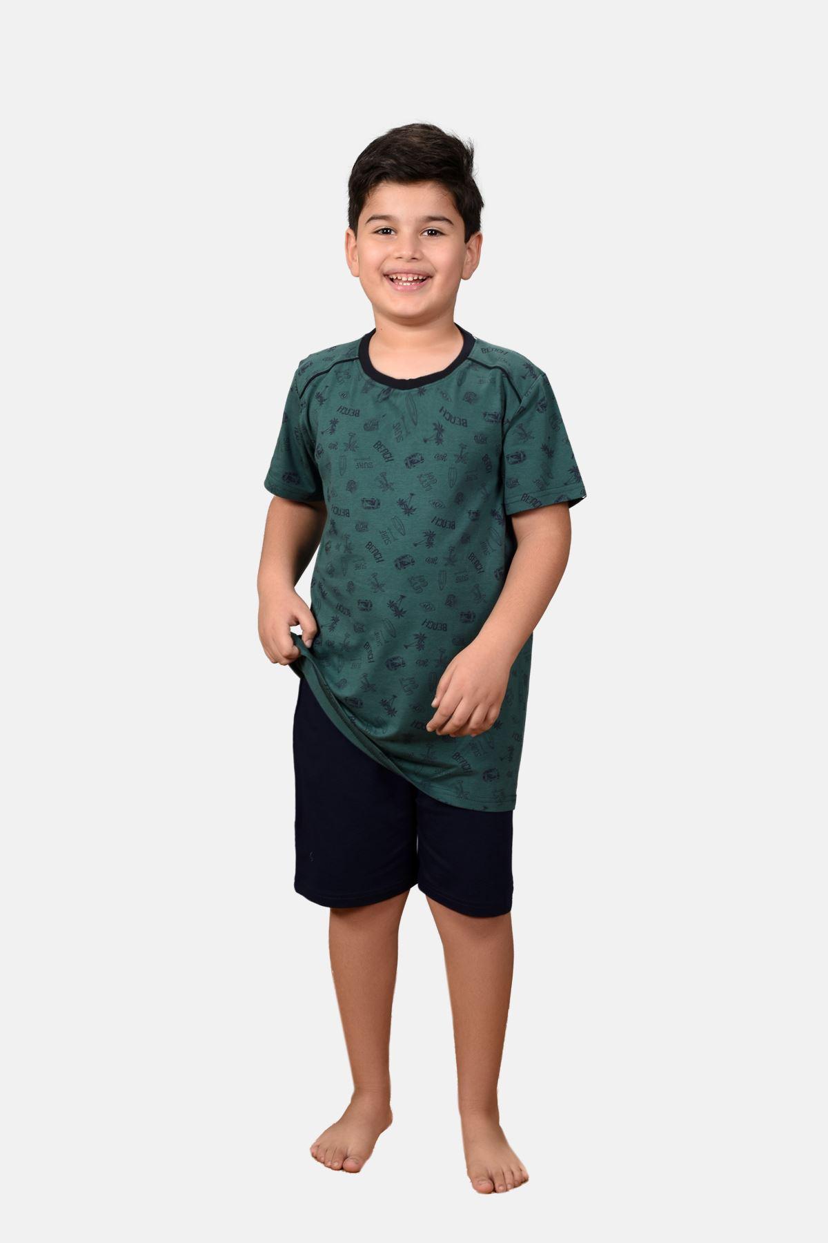 Yeşil Erkek Çocuk 3 Parça Desenli Yazlık Pijama Takımı 2-14 Yaş 3001