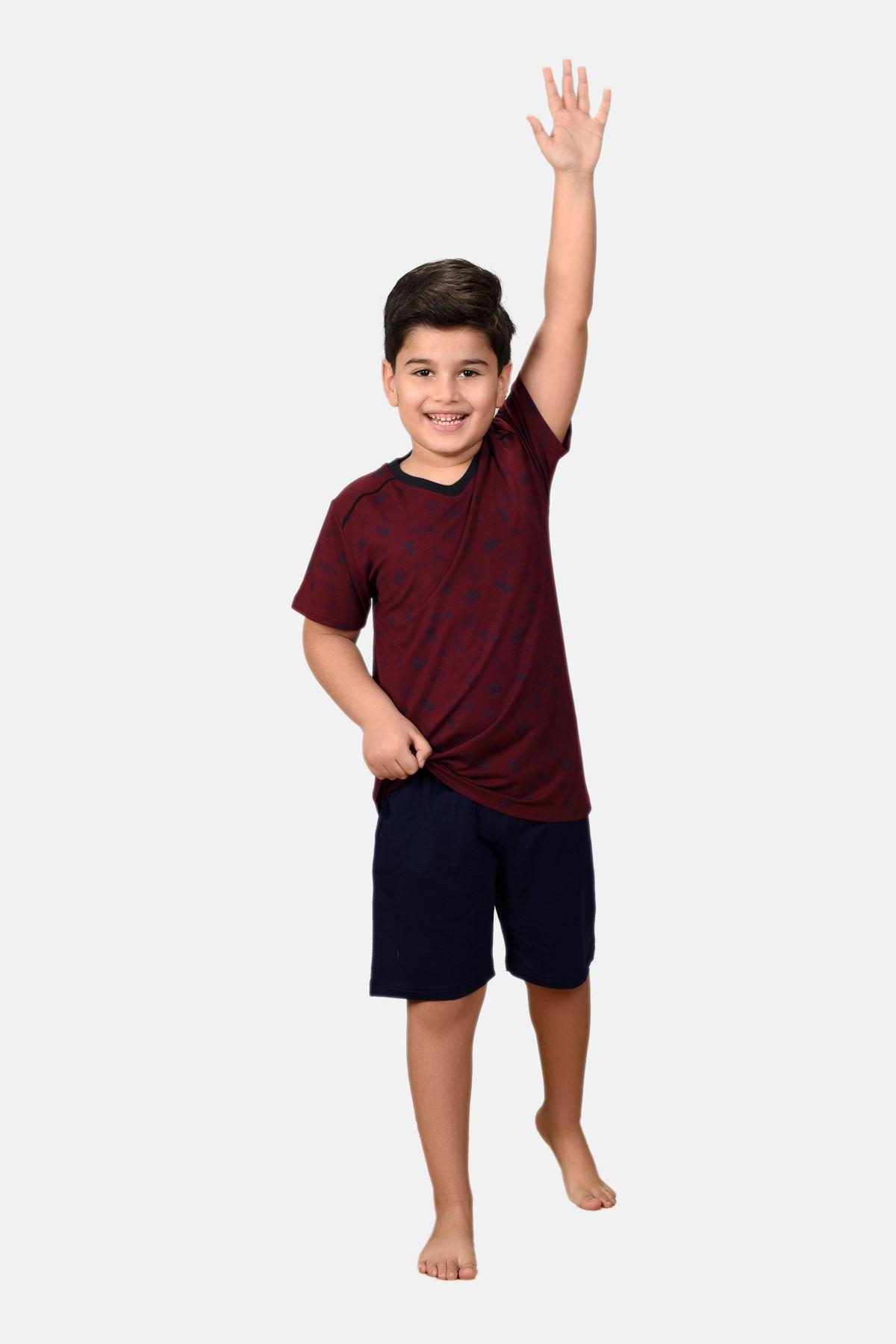 Bordo Erkek Çocuk 3 Parça Desenli Yazlık Pijama Takımı 2-14 Yaş 3001