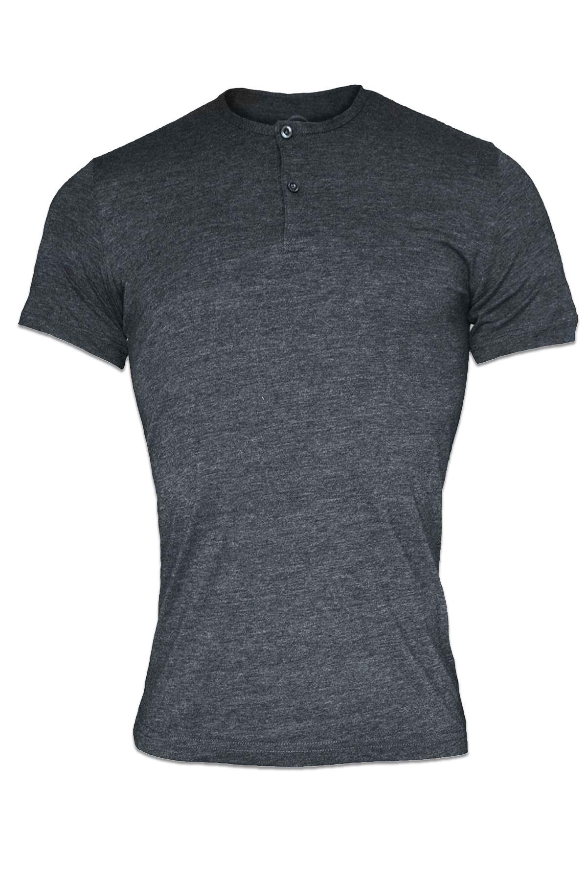 Antrasit Erkek Düğmeli Yaka Yaz Serinliği Tshirt 083